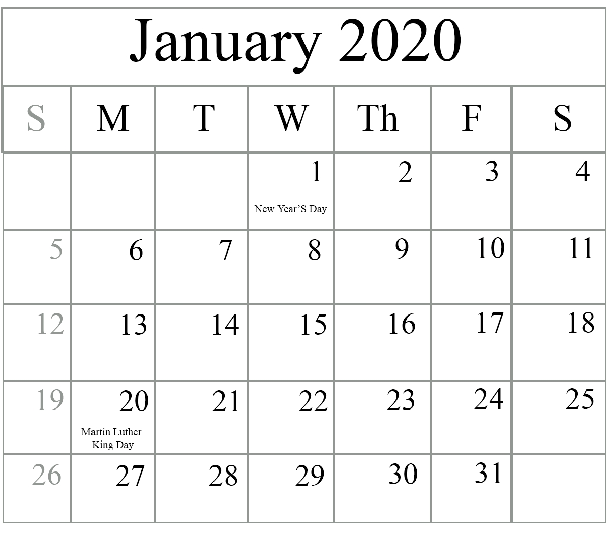 Free Blank January 2020 Calendar Printable In Pdf, Word-January 2020 Calendar Editable