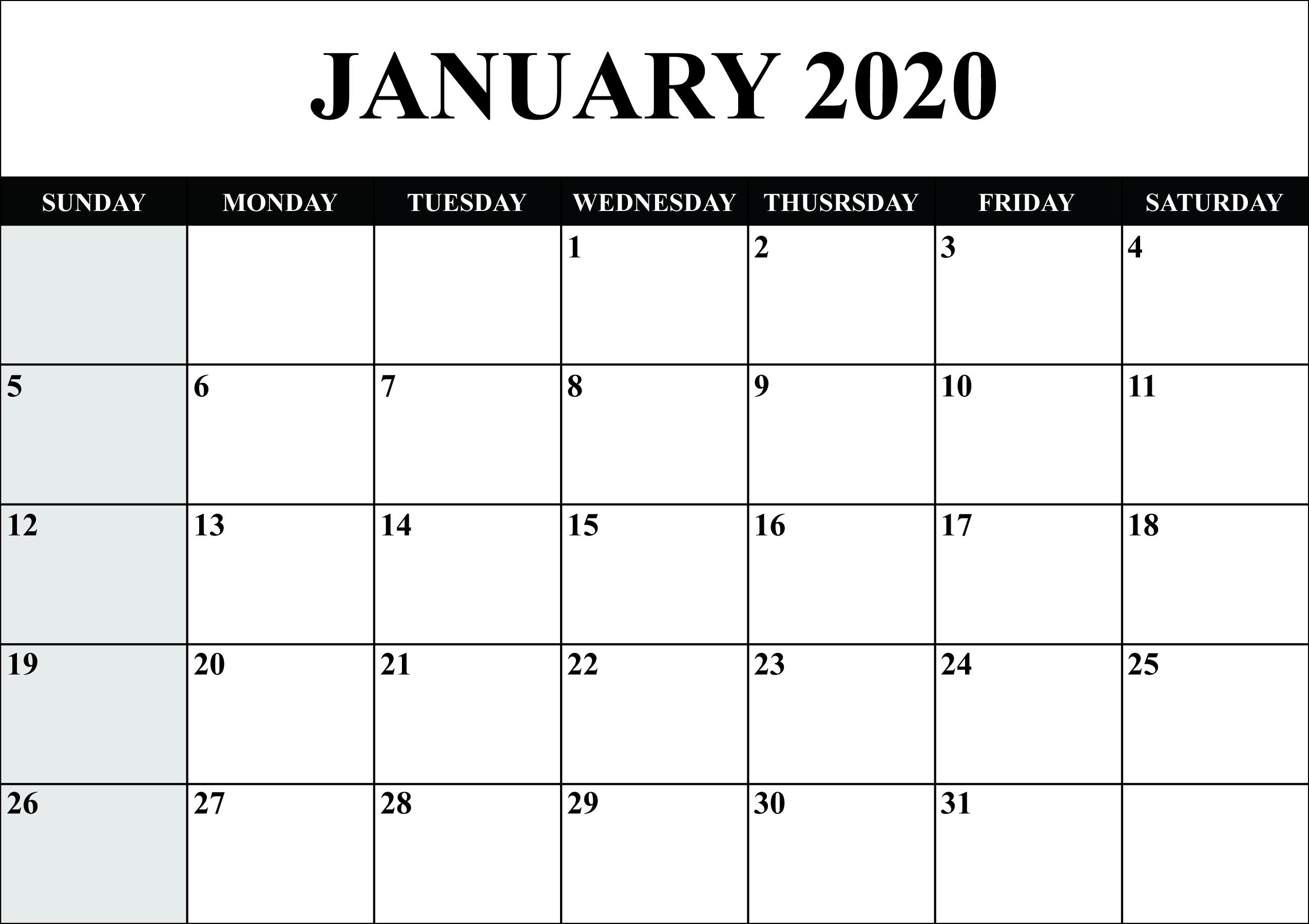 Free Blank January 2020 Calendar Printable In Pdf, Word-January 2020 Calendar Excel