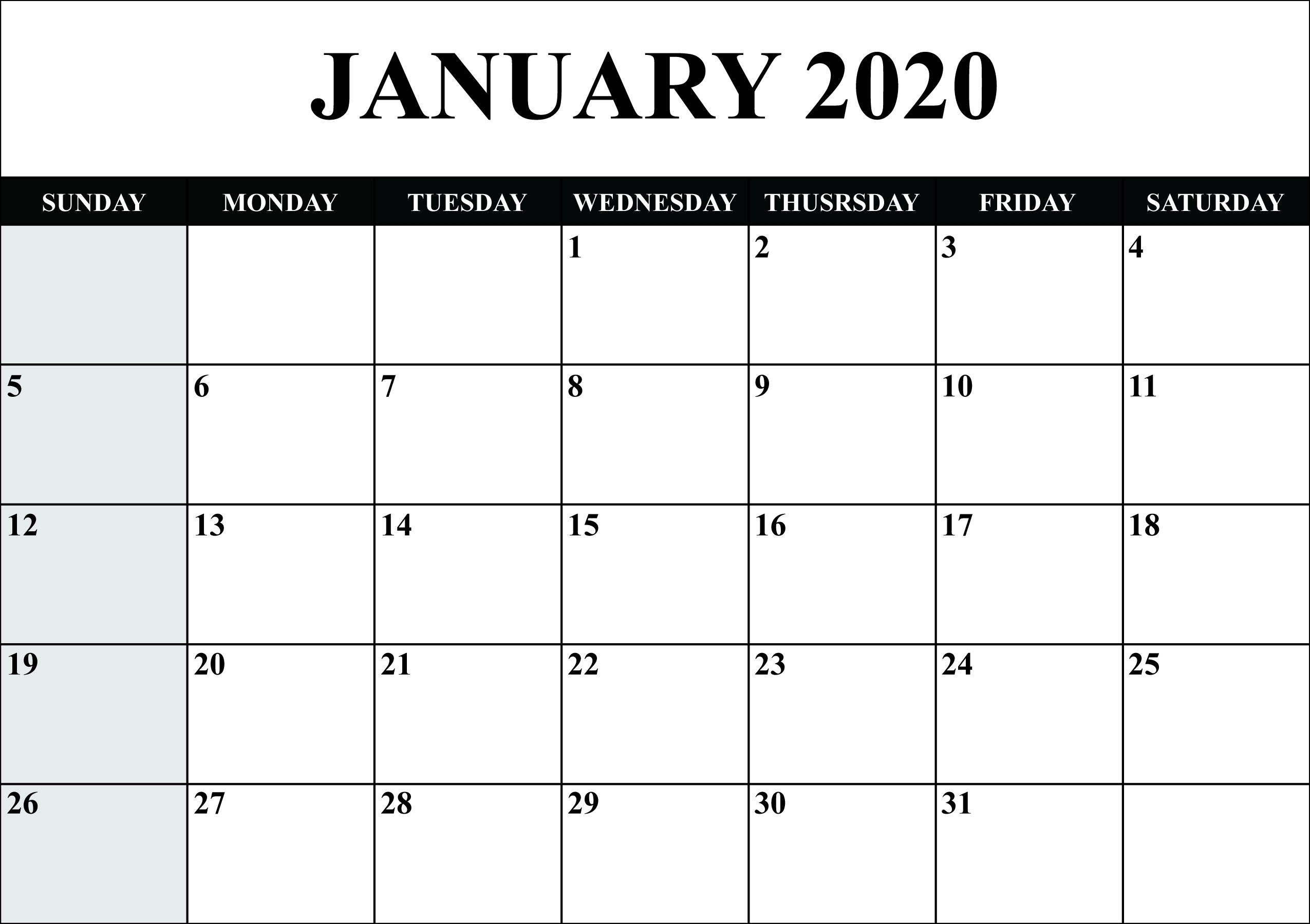 Free Blank January 2020 Calendar Printable In Pdf, Word-January 2020 Calendar Free