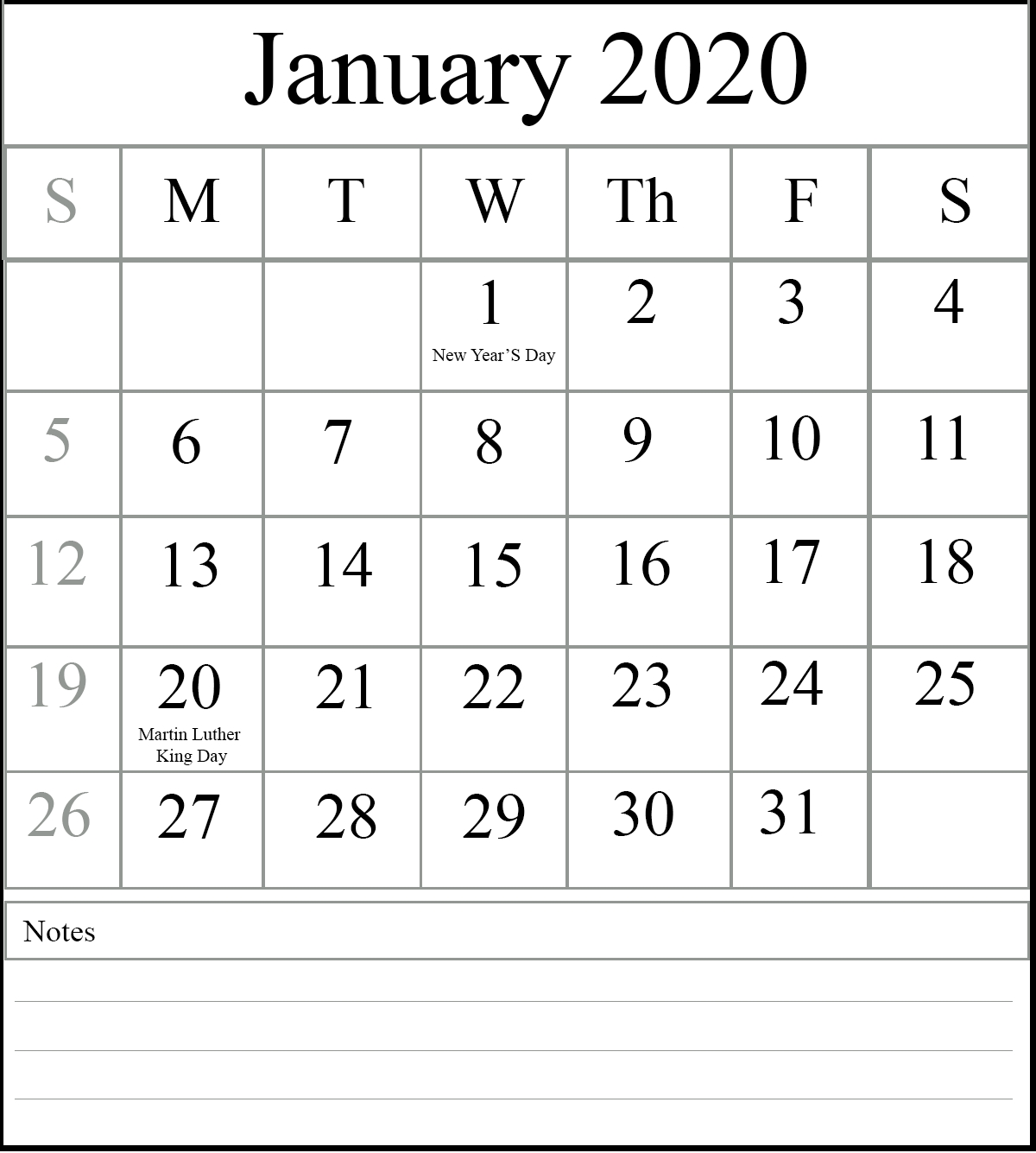 Free Blank January 2020 Calendar Printable In Pdf, Word-January 2020 Calendar Holidays