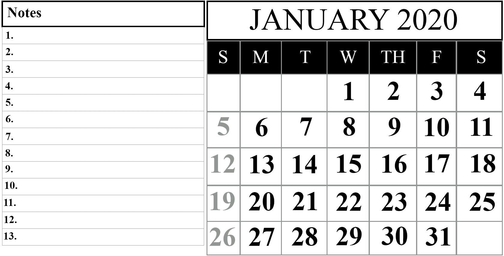 Free Blank January 2020 Calendar Printable In Pdf, Word-January 2020 Calendar Vertical