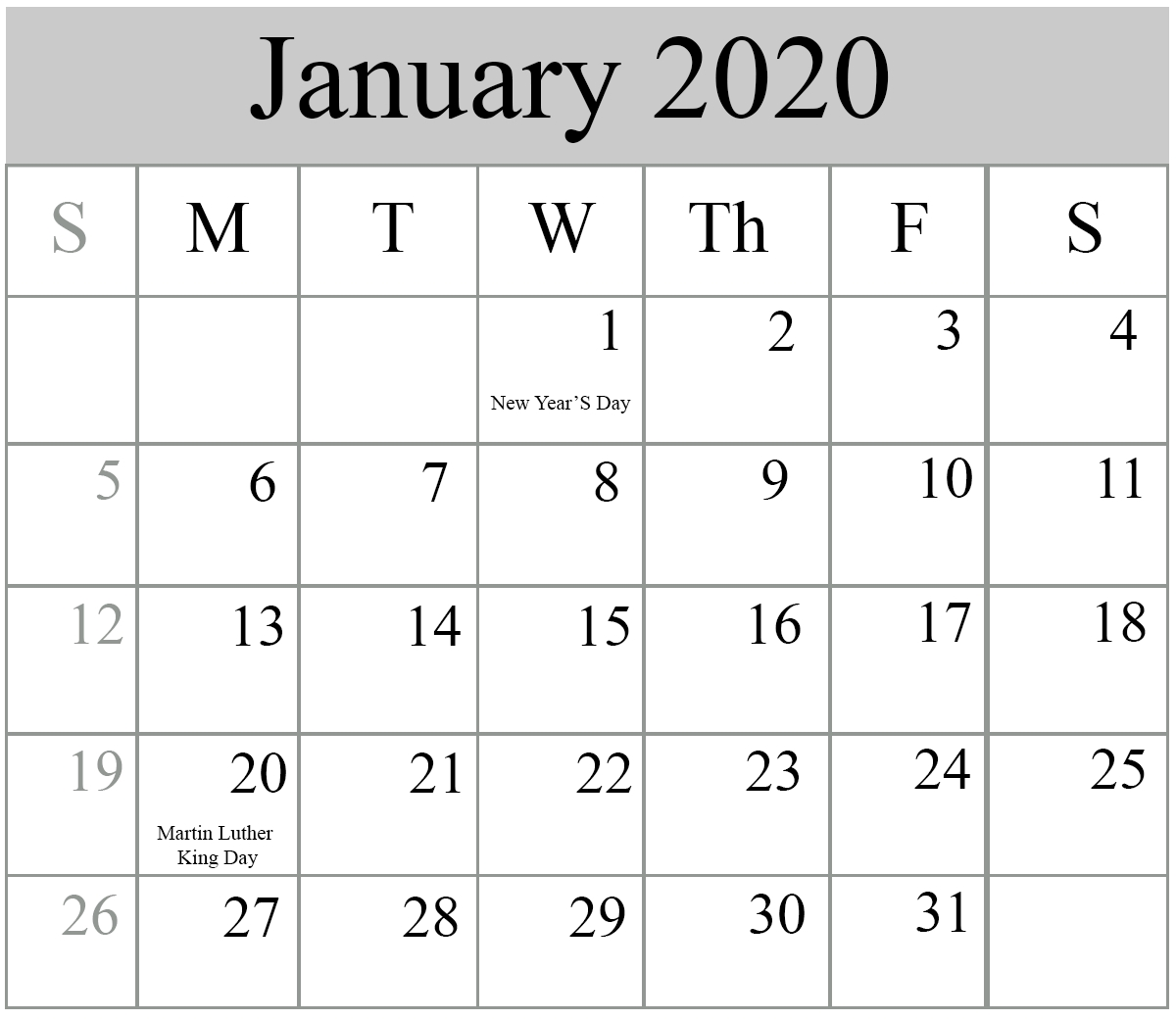 Free Blank January 2020 Calendar Printable In Pdf, Word-January 2020 Calendar With Holidays
