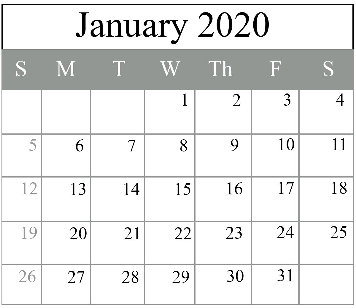 Free Blank January 2020 Calendar Printable In Pdf, Word-Wiki Calendar January 2020