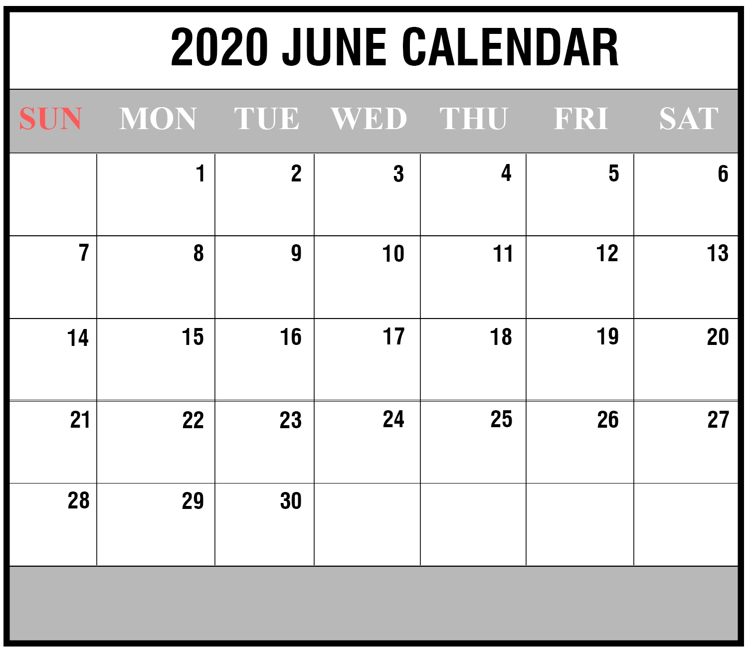 Free Blank June 2020 Printable Calendar With Holidays [Pdf-Blank Customizable June Calendar Template 2020