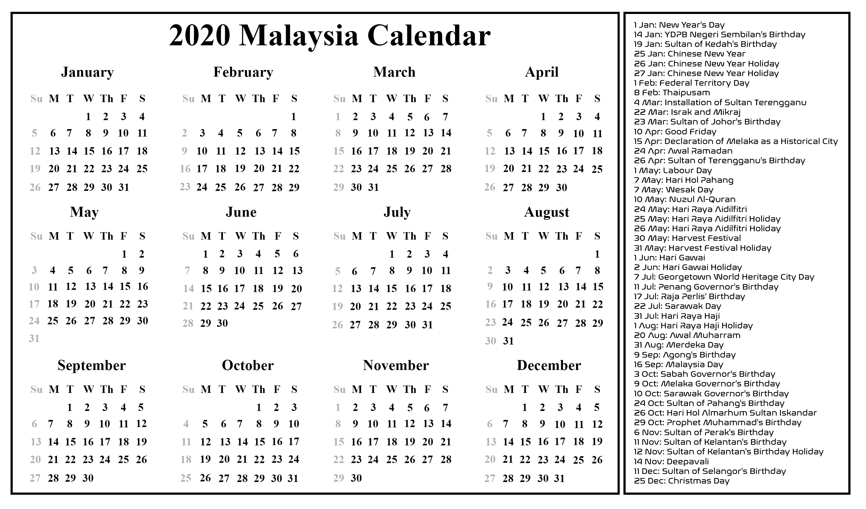 Free Blank Malaysia Calendar 2020 In Pdf, Excel & Word-Calendar For 2020 Printable With Legal Holidays