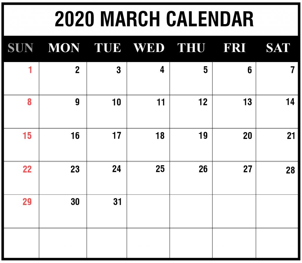 2020 Fillable Calendar Template