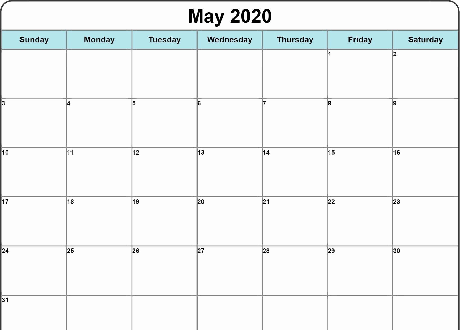 Free Blank May Calendar 2020 Printable Template-Printable Monthly Bill Pay Calendar 2020