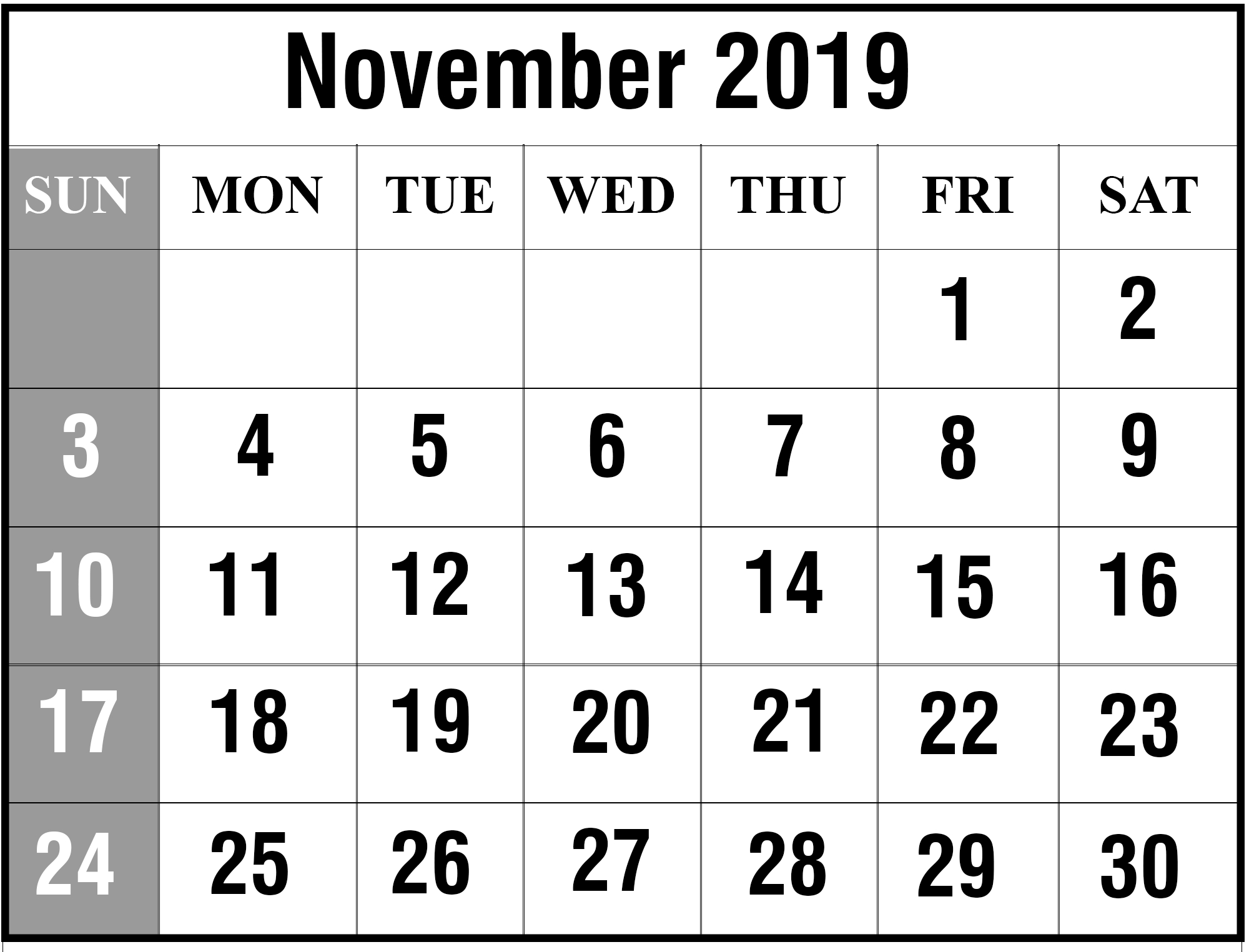 Free Blank November 2019 Printable Calendar In Pdf, Excel-Calendar Template 2020 Printable Free With Prior And Next Month