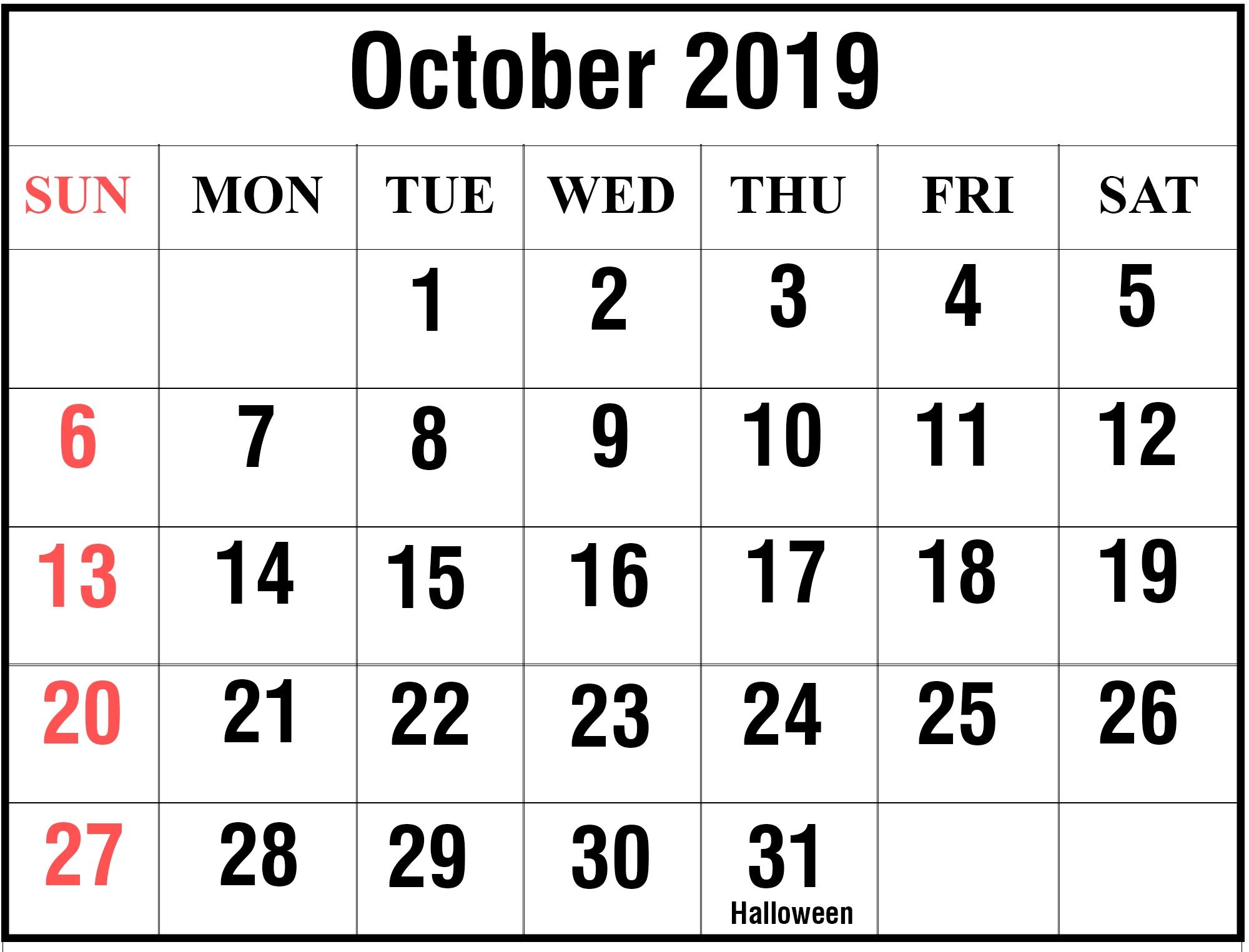 Free Blank October 2019 Printable Calendar In Pdf, Excel-Bill Calendar 2020 Templates