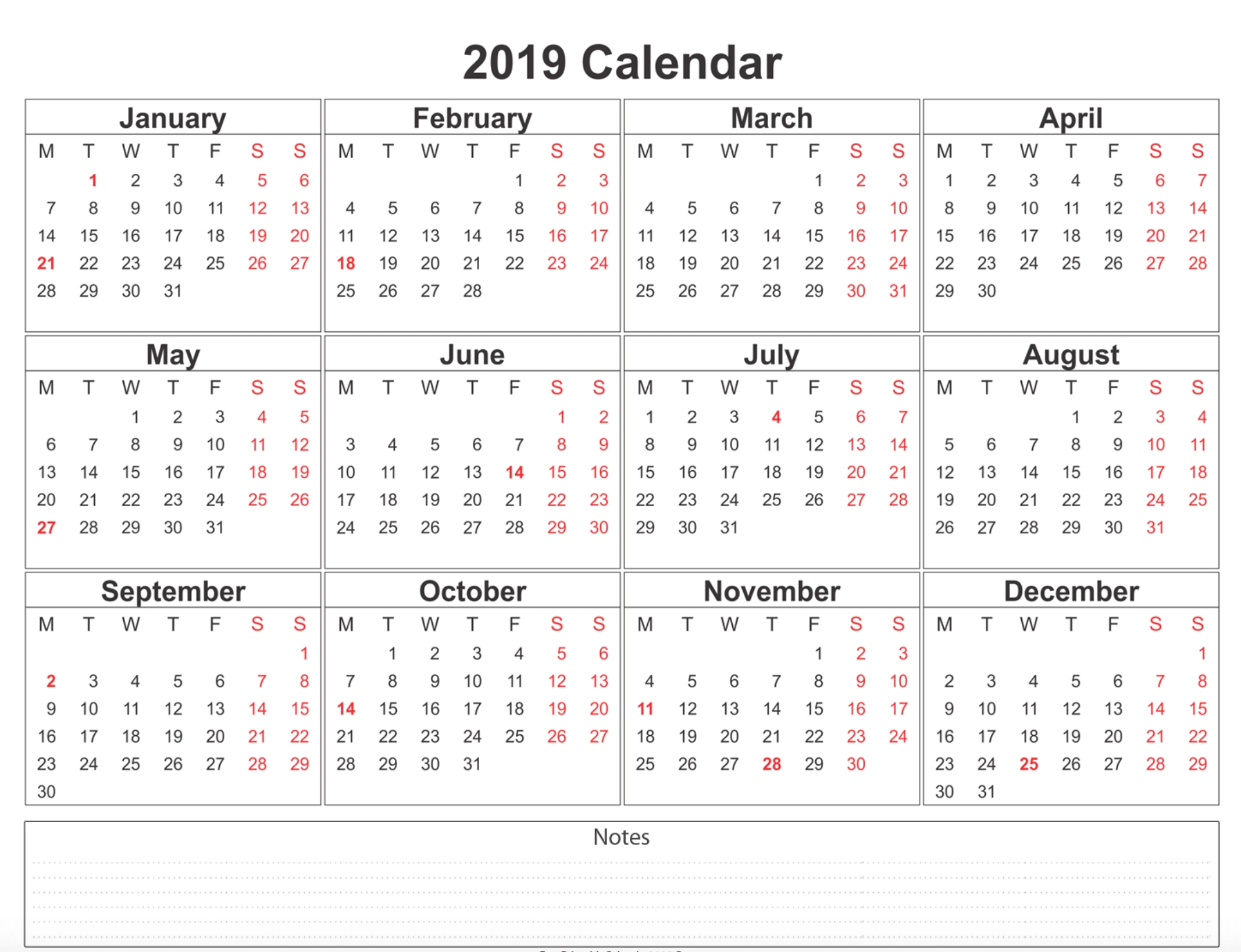 Free Blank Printable Calendar 2019 With Holidays Template-Five Day Monthly Calendar For Word