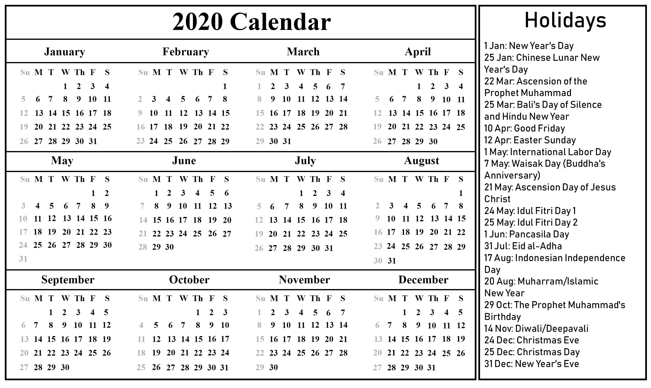 Free Download Blank Indonesia Calendar 2020 [Pdf, Excel-Calendar 2020 Holidays Hindi