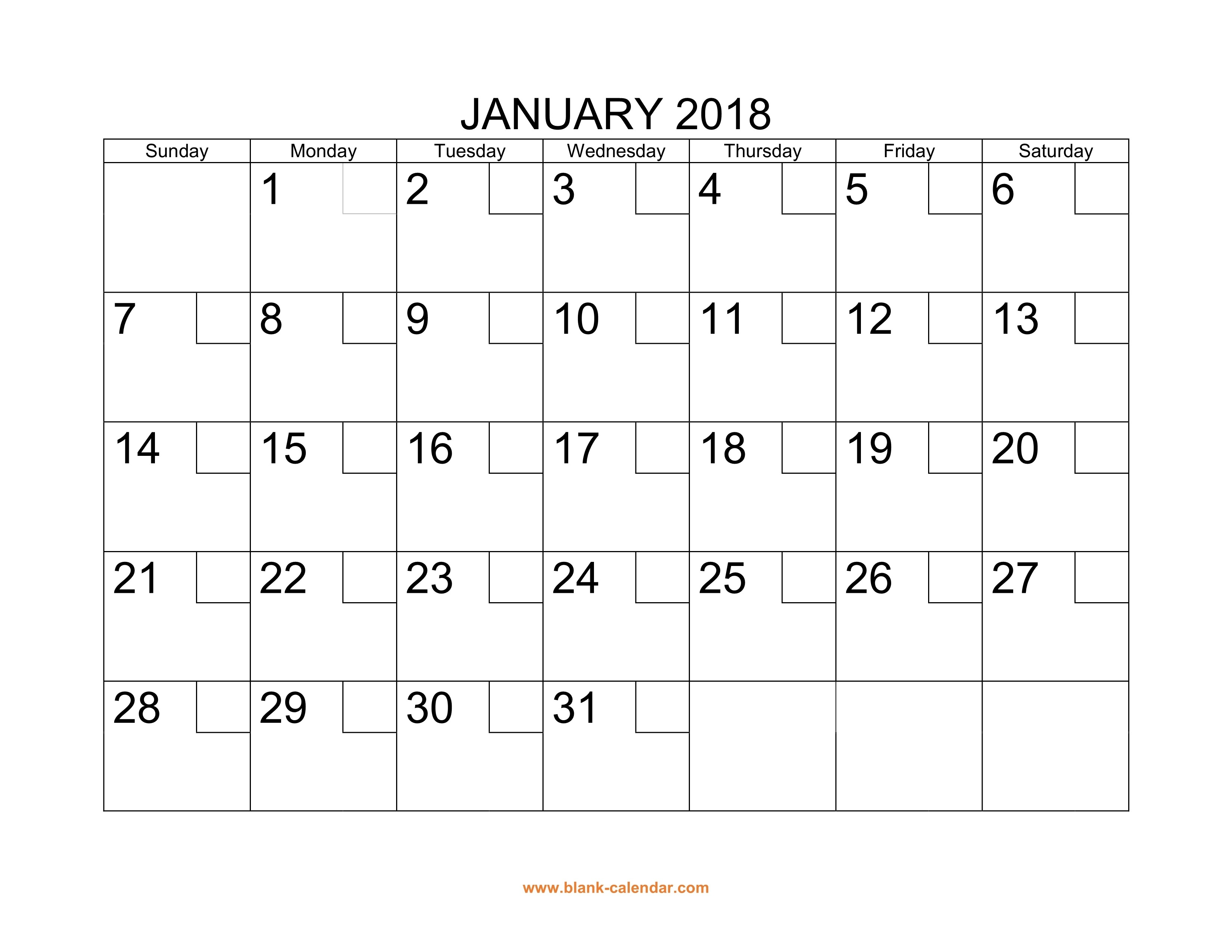 Free Download Printable Calendar 2018 With Check Boxes-Month To Month Blank Calendars