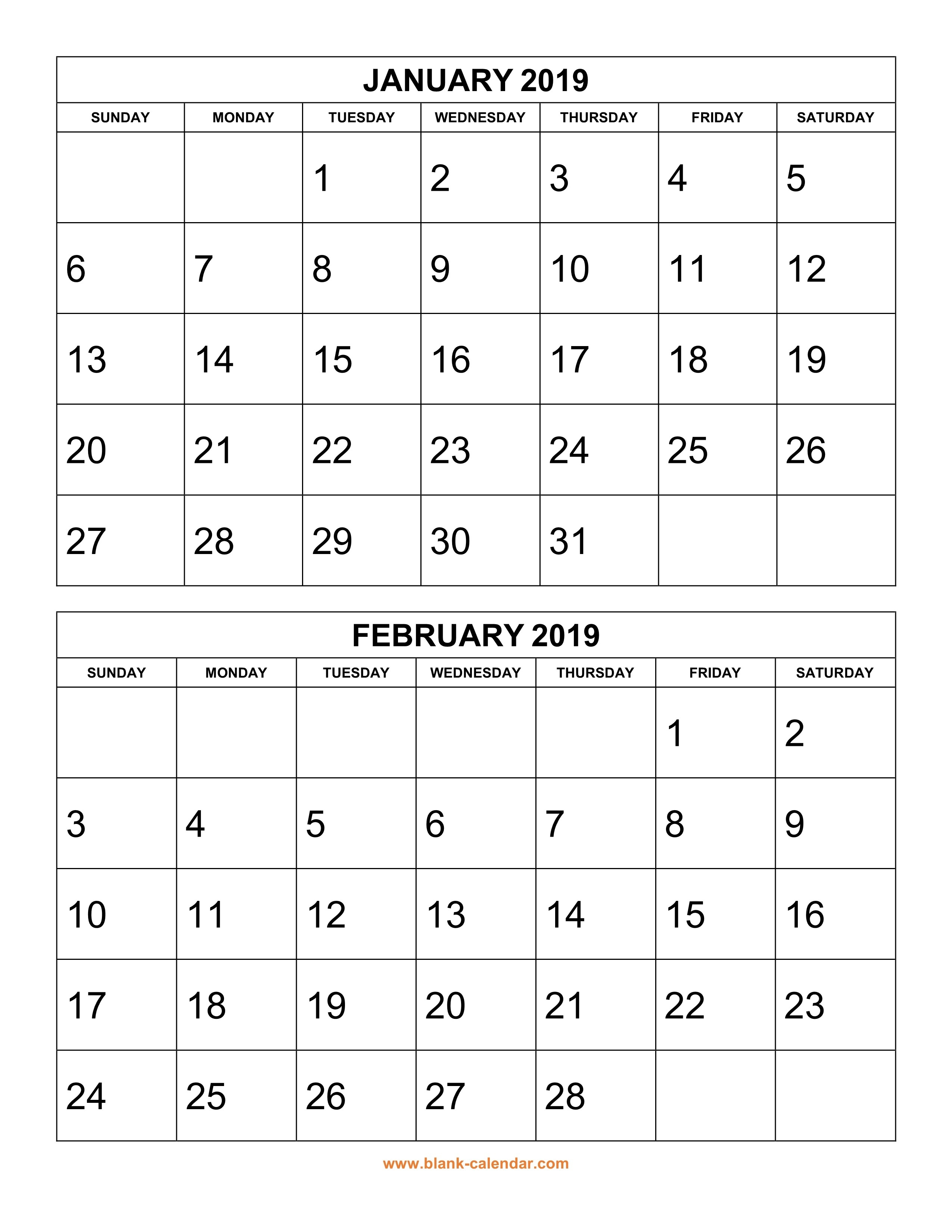 Free Download Printable Calendar 2019, 2 Months Per Page, 6-Blank Calenday Monyh Pages