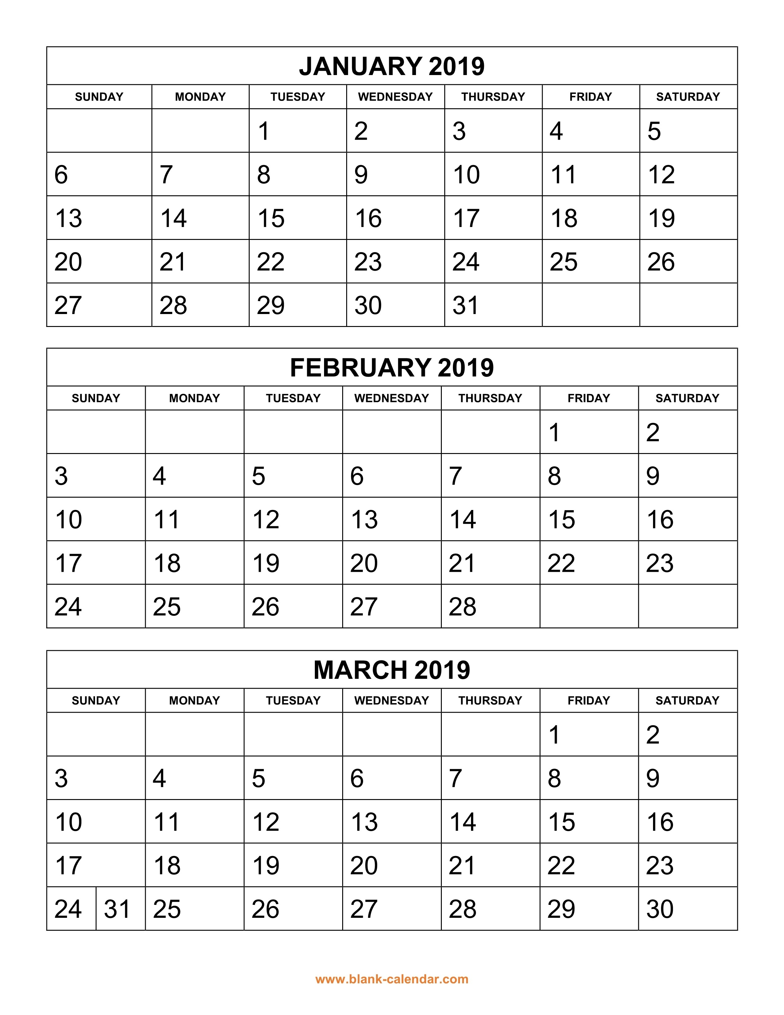 Free Download Printable Calendar 2019, 3 Months Per Page, 4-Blank Calendar Printable 4 Per Page