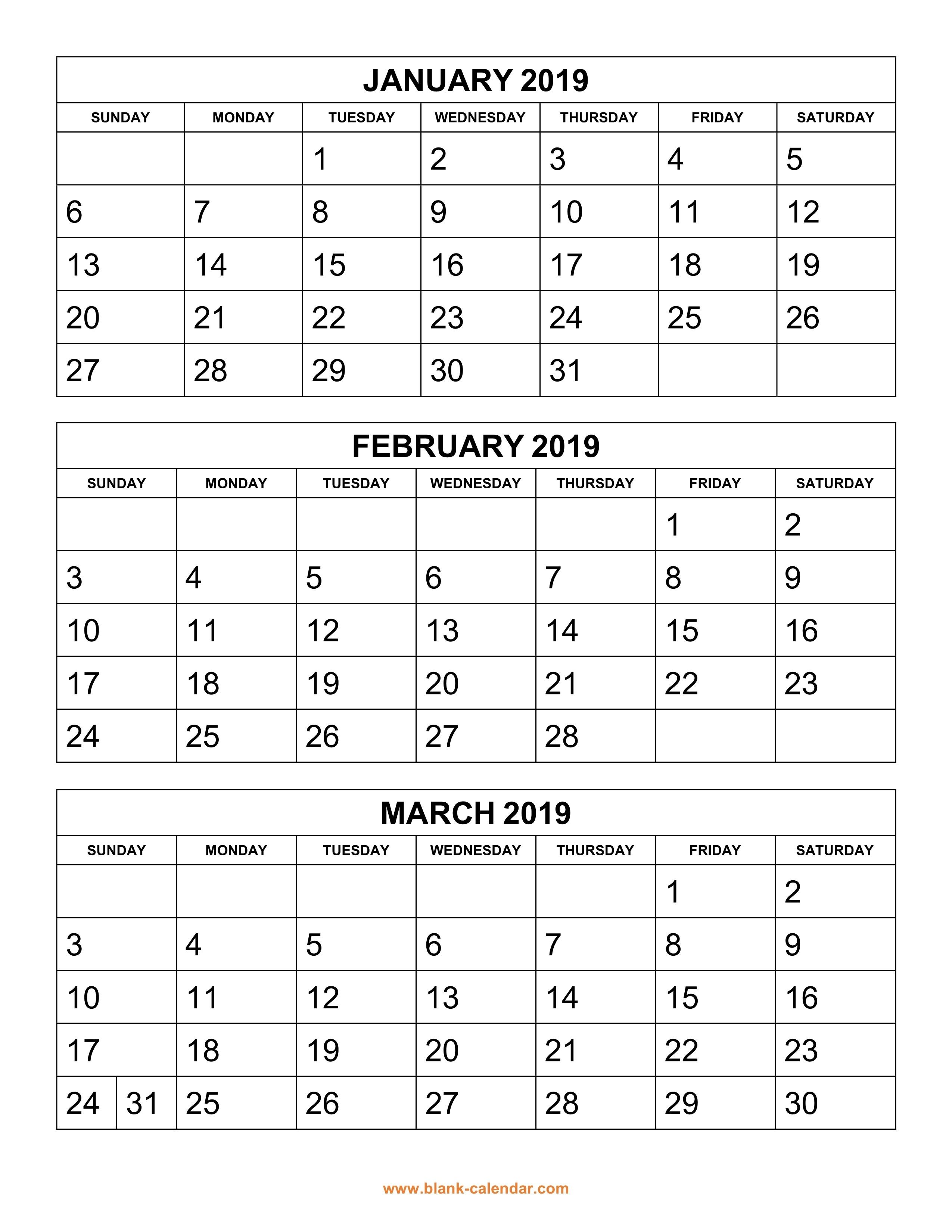 Free Download Printable Calendar 2019, 3 Months Per Page, 4-Print Blank Calendar 6 Months Per Page