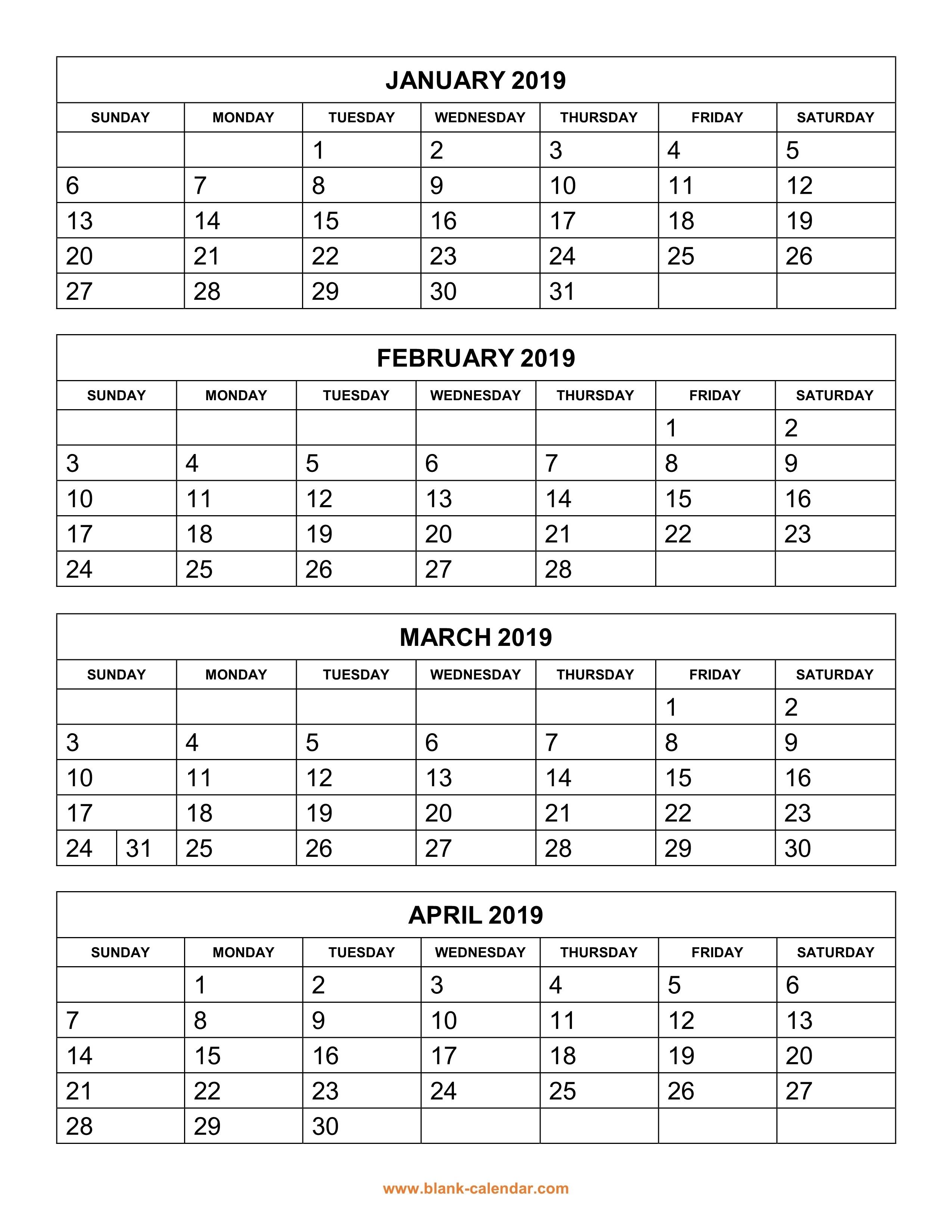 Free Download Printable Calendar 2019, 4 Months Per Page, 3-Blank Calendar Printable 4 Per Page