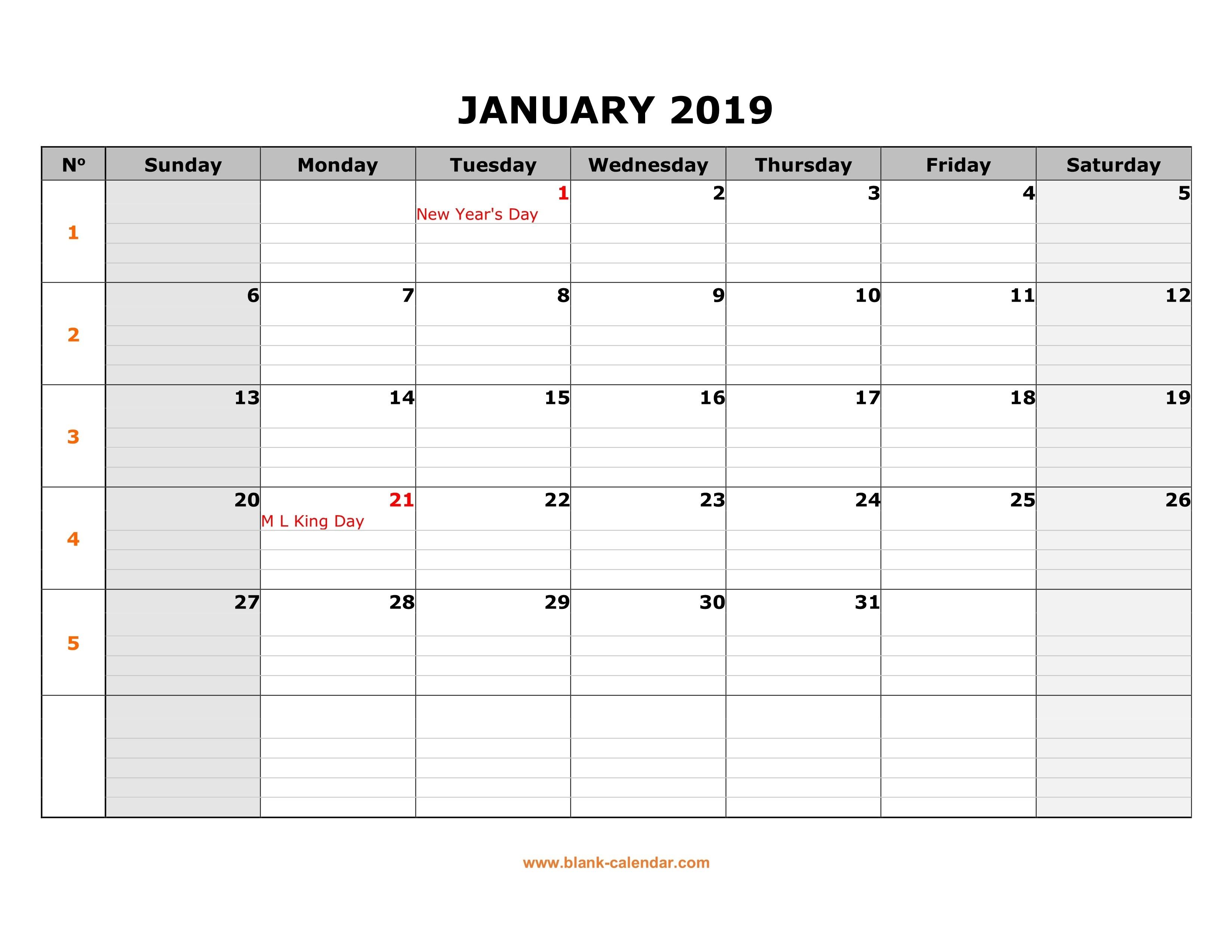 Free Download Printable Calendar 2019, Large Box Grid, Space-Free Printable Blank Calendar Grid