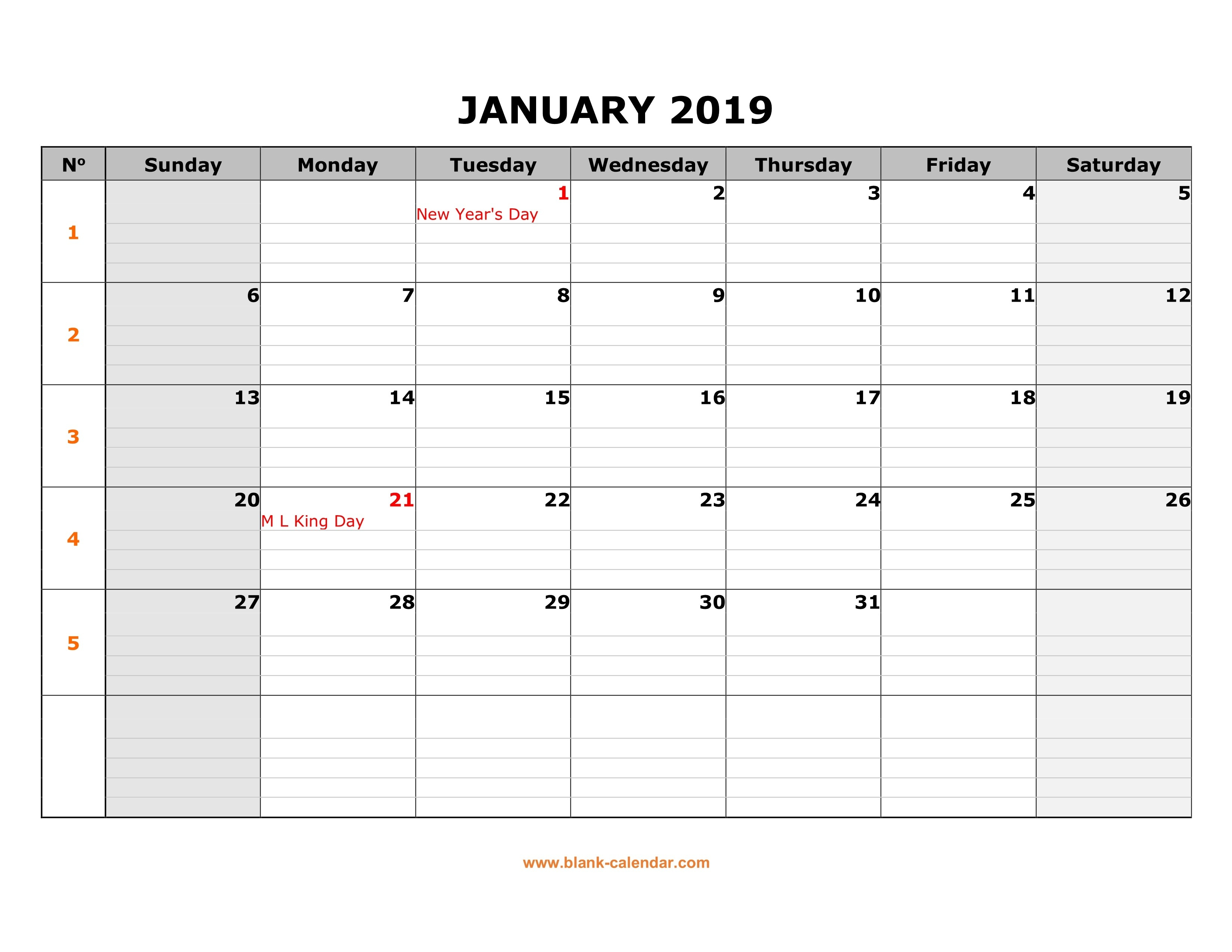 Free Download Printable Calendar 2019, Large Box Grid, Space-Monday To Friday Monthly Calendar