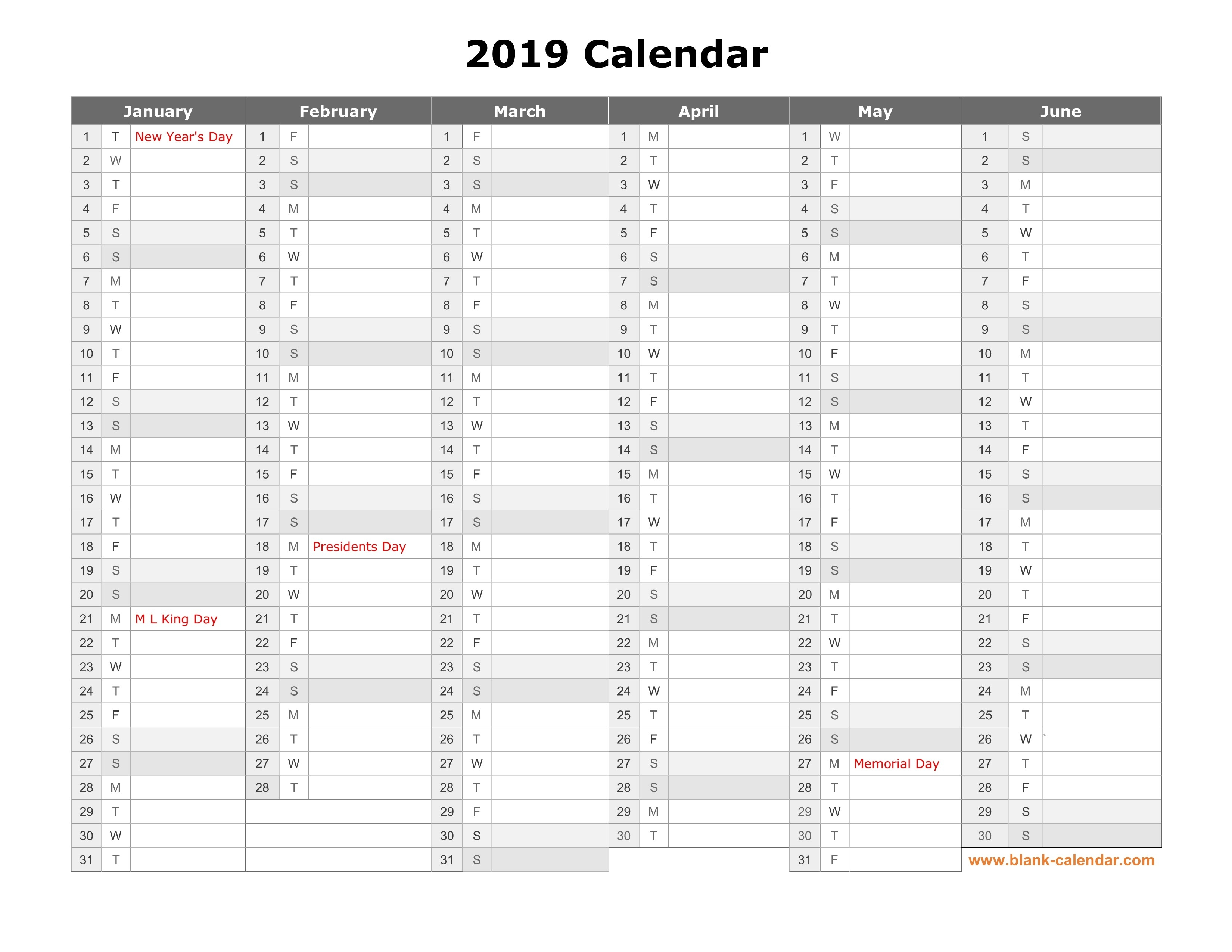 Free Download Printable Calendar 2019, Month In A Column-Print Blank Calendar 6 Months Per Page