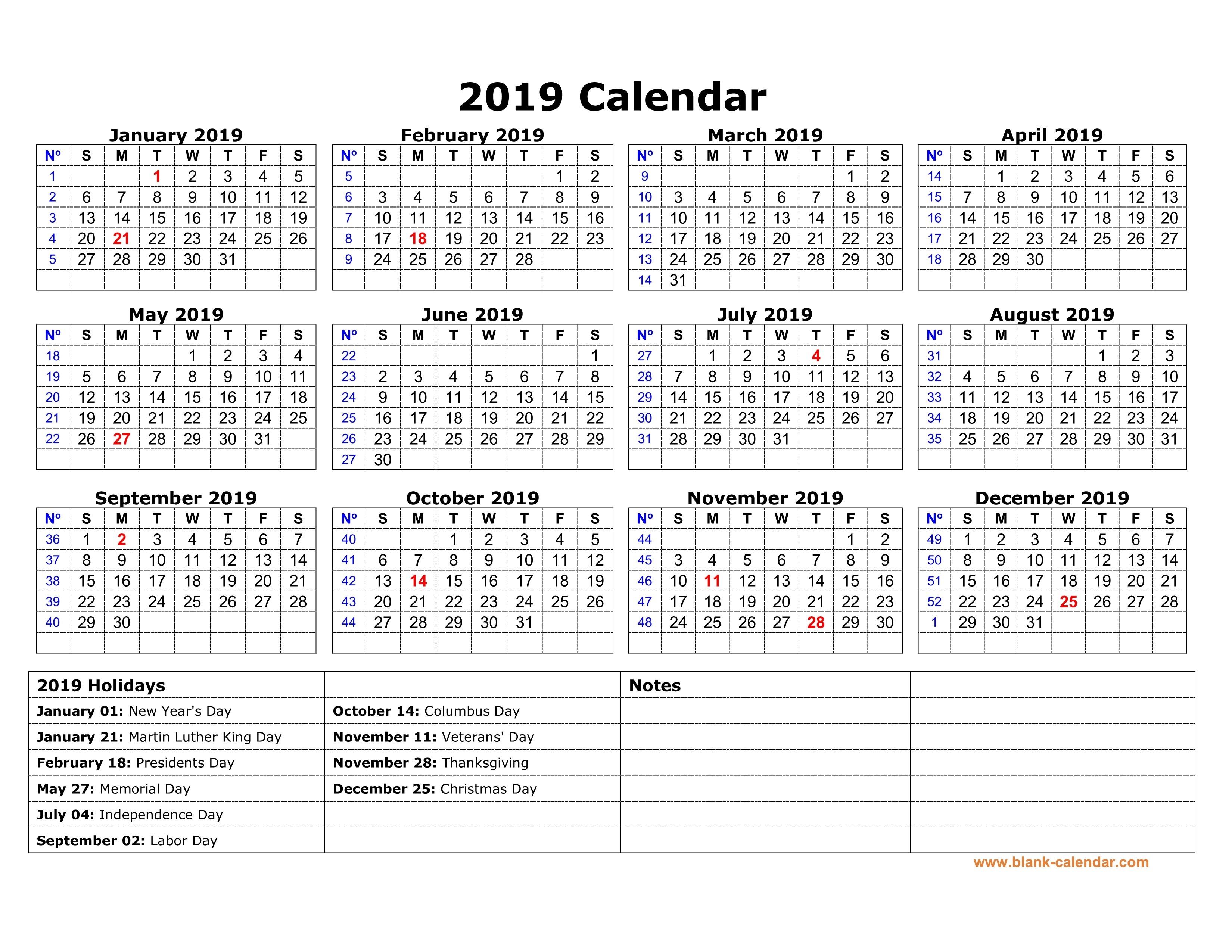 Free Download Printable Calendar 2019 With Us Federal-Us Printable Blank Calendars