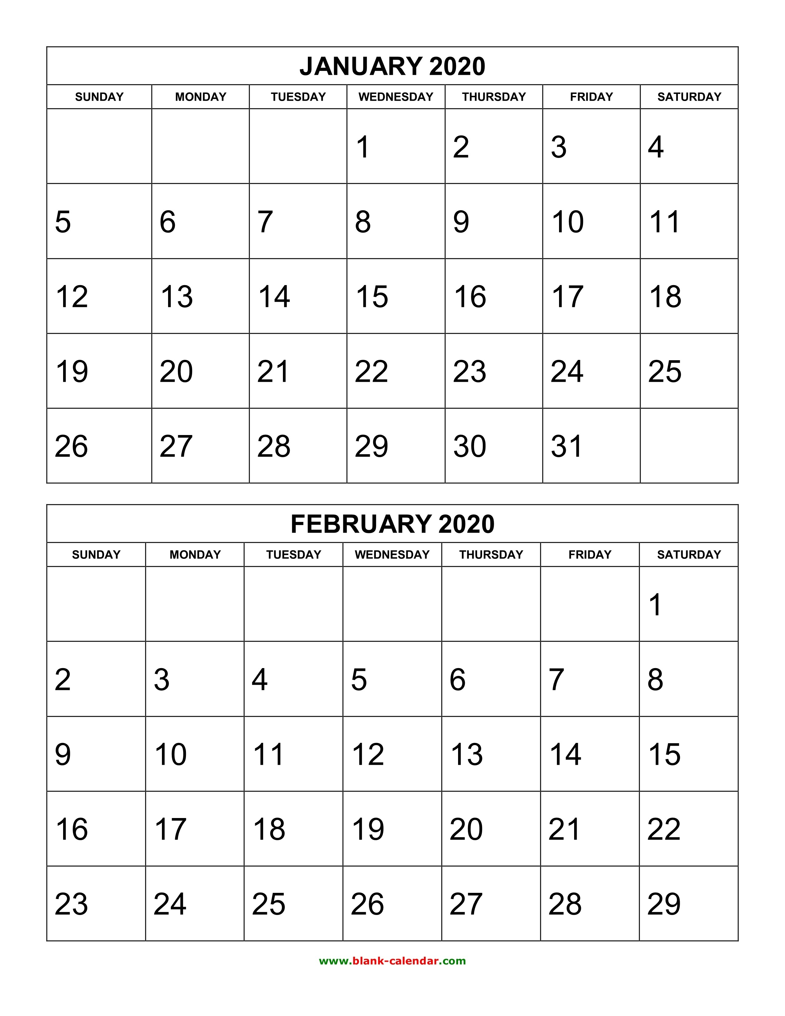 Free Download Printable Calendar 2020, 2 Months Per Page, 6-6 Month Calendar Template 2020