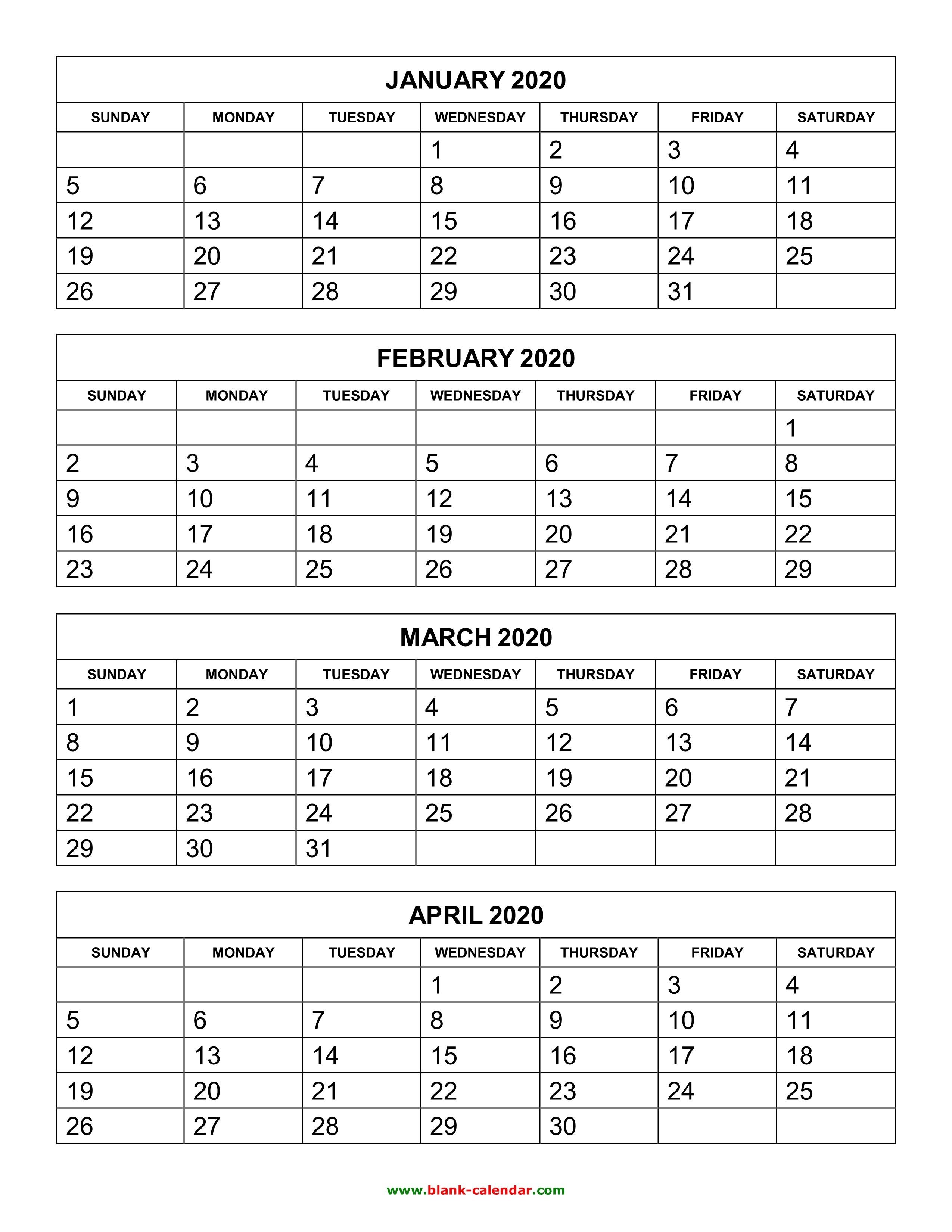 Free Download Printable Calendar 2020, 4 Months Per Page, 3-Print Blank Calendar 6 Months Per Page