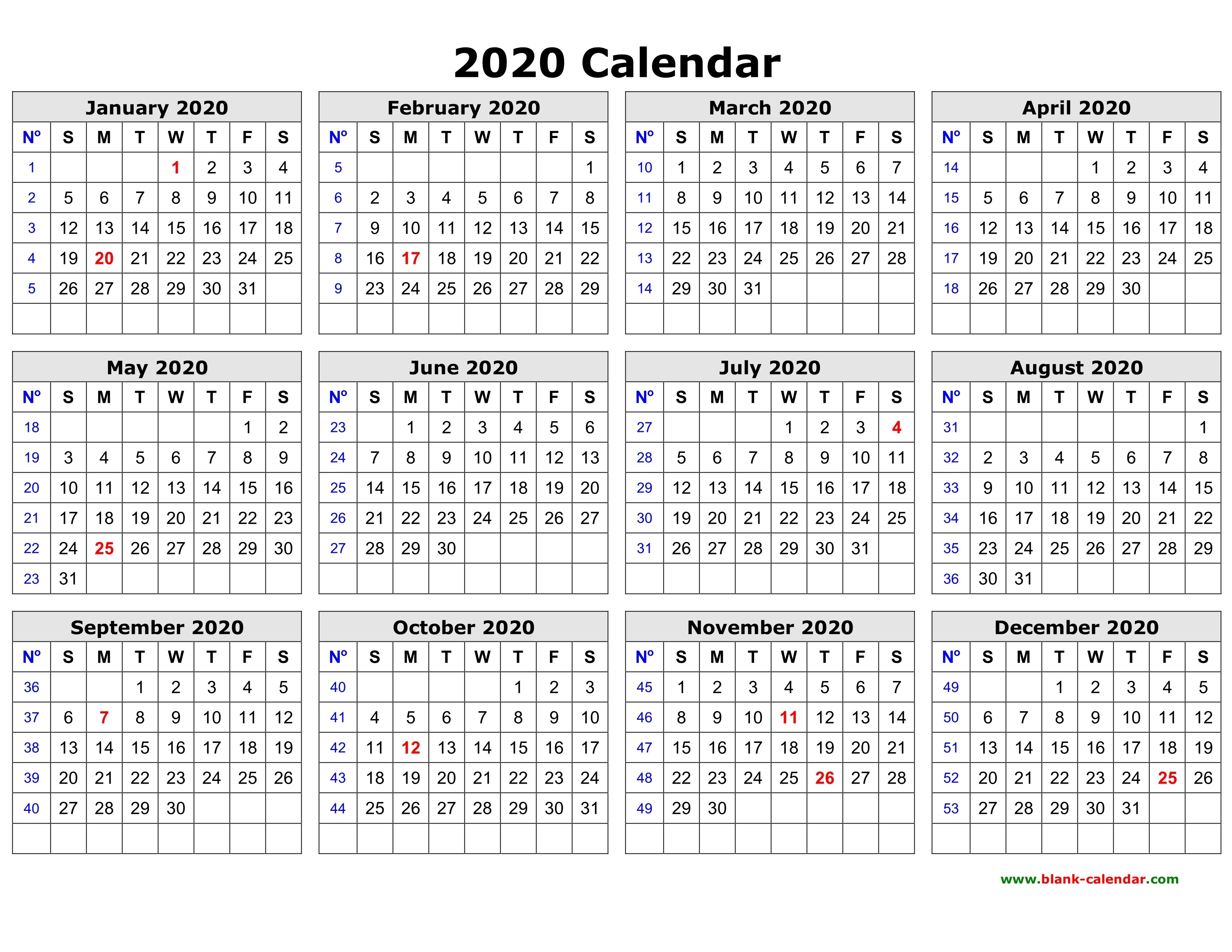 Free Download Printable Calendar 2020 In One Page, Clean Design.-12 Month Blank Calendar 2020 Printable