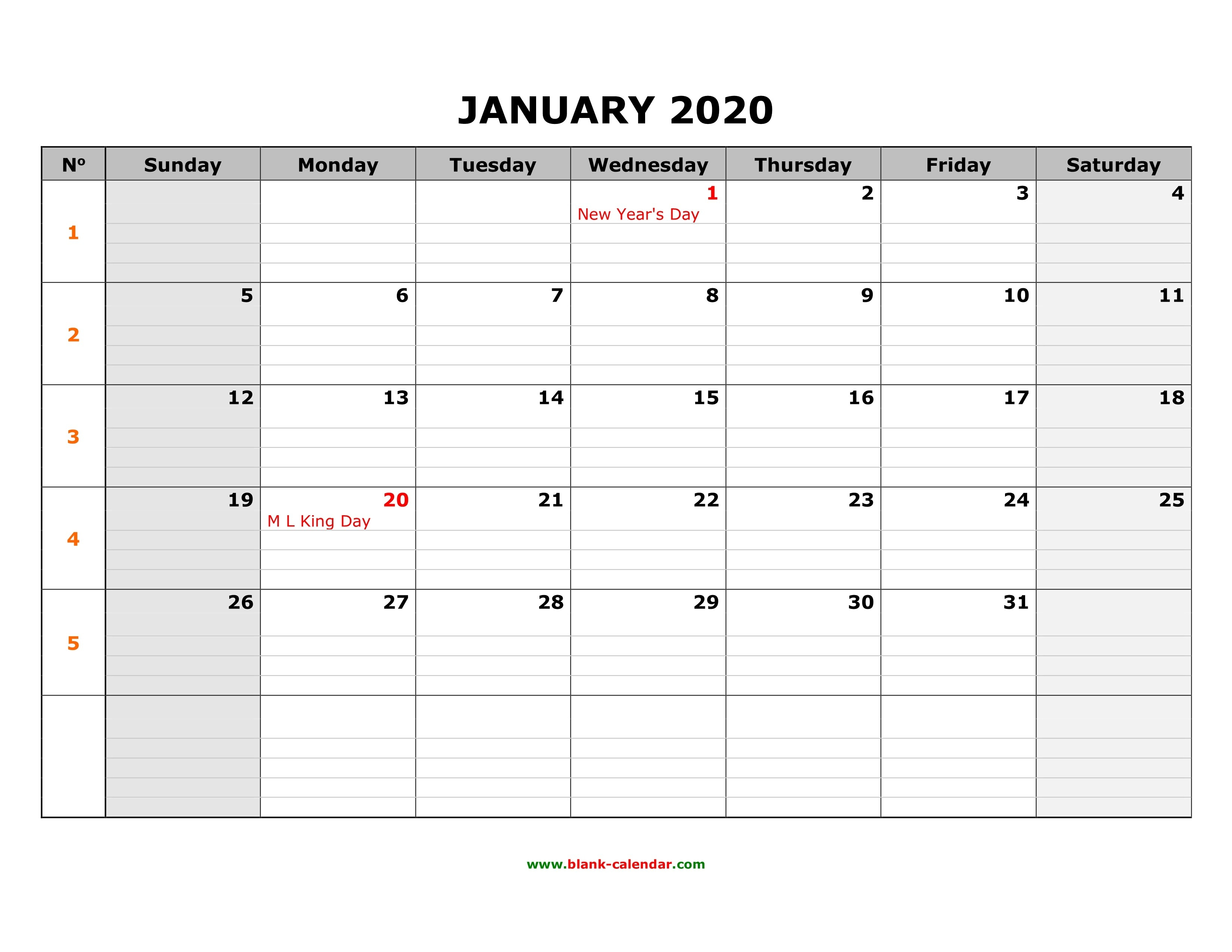 Free Download Printable Calendar 2020, Large Box Grid, Space-Fill In Monthly Calendar 2020