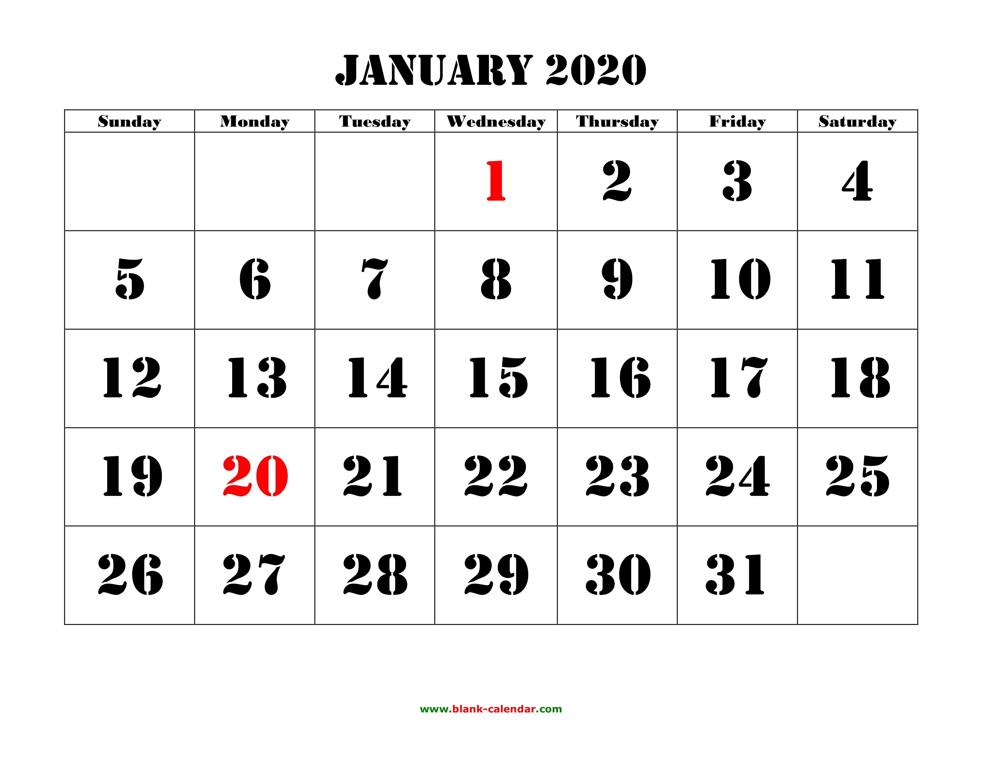 Free Download Printable Calendar 2020, Large Font Design-Monthly Calendar 2020 With Holidays Template
