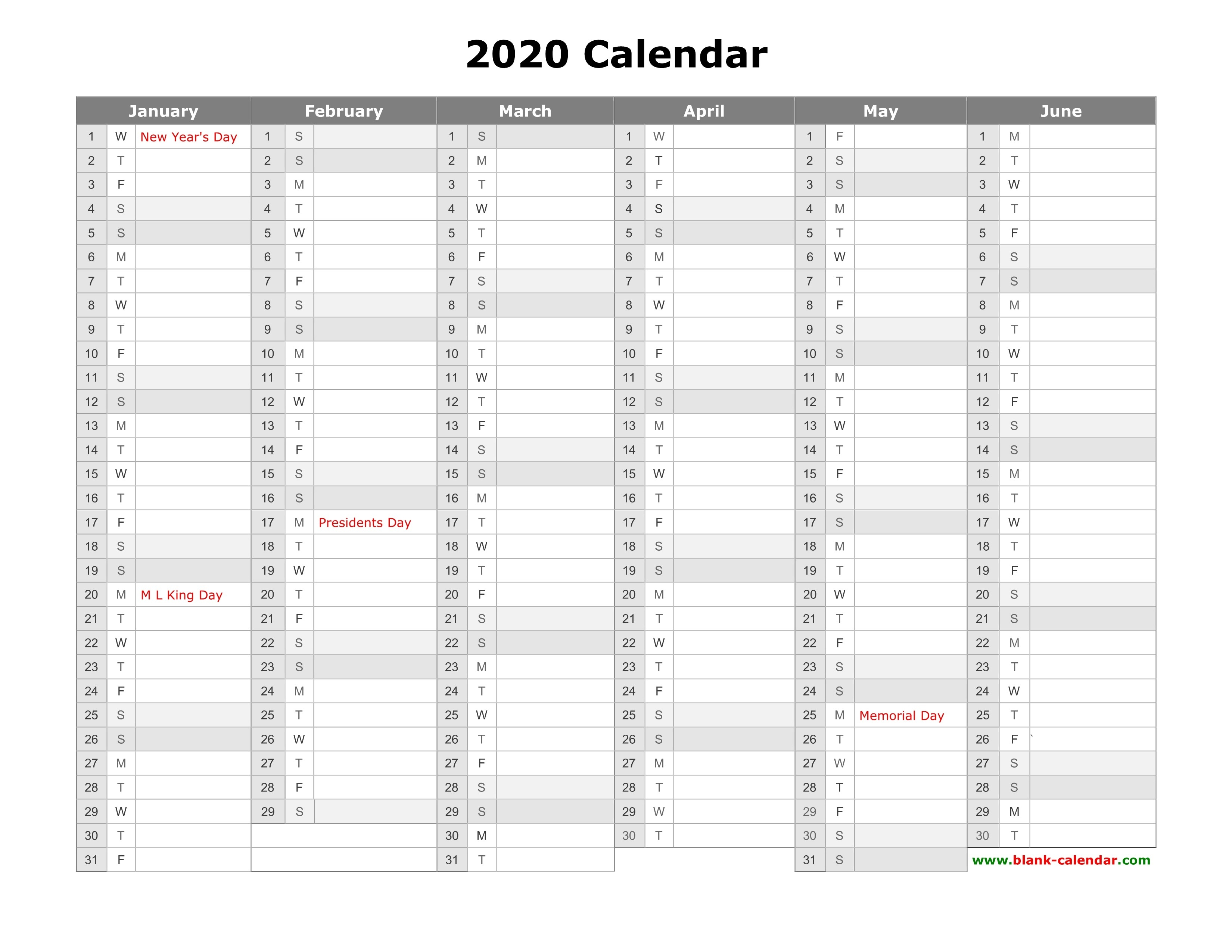 Free Download Printable Calendar 2020, Month In A Column-Blank 2 Pages Calendar 2020