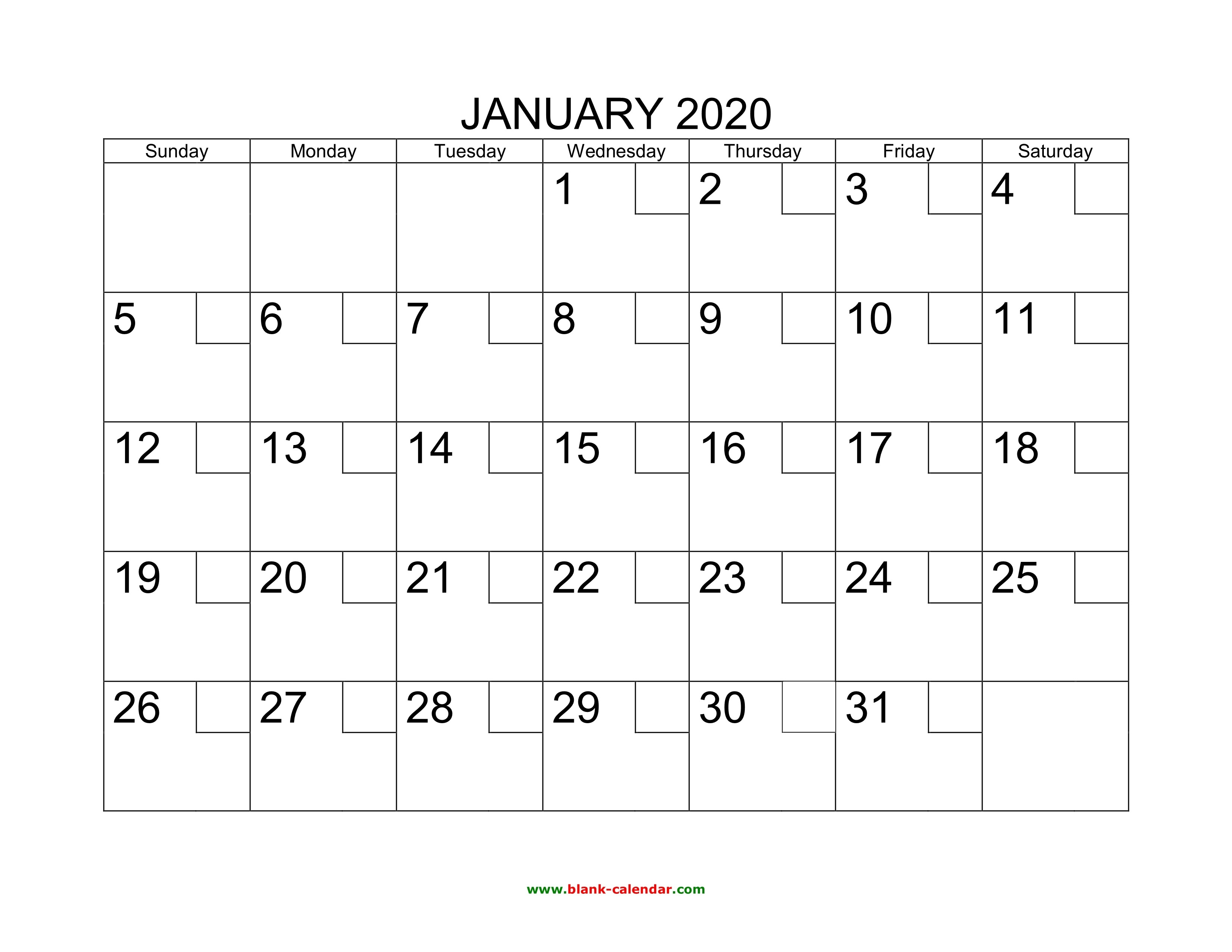 Free Download Printable Calendar 2020 With Check Boxes-Printable Blank Calendar Pages Free 2020