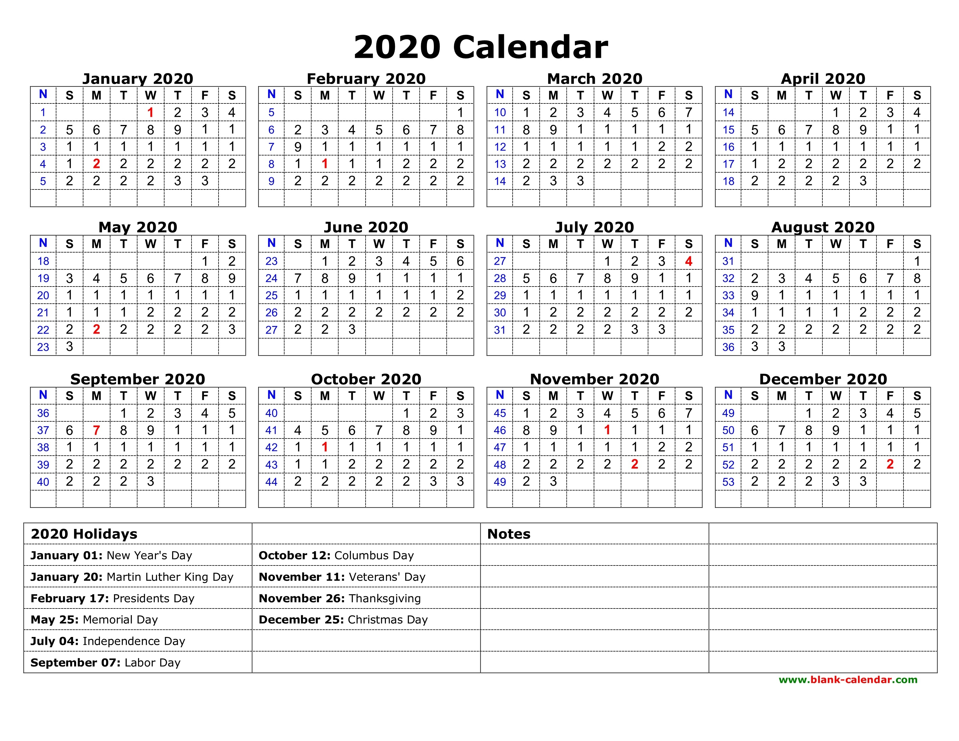 Free Download Printable Calendar 2020 With Us Federal-Free 2 Page Calendar Templates 2020