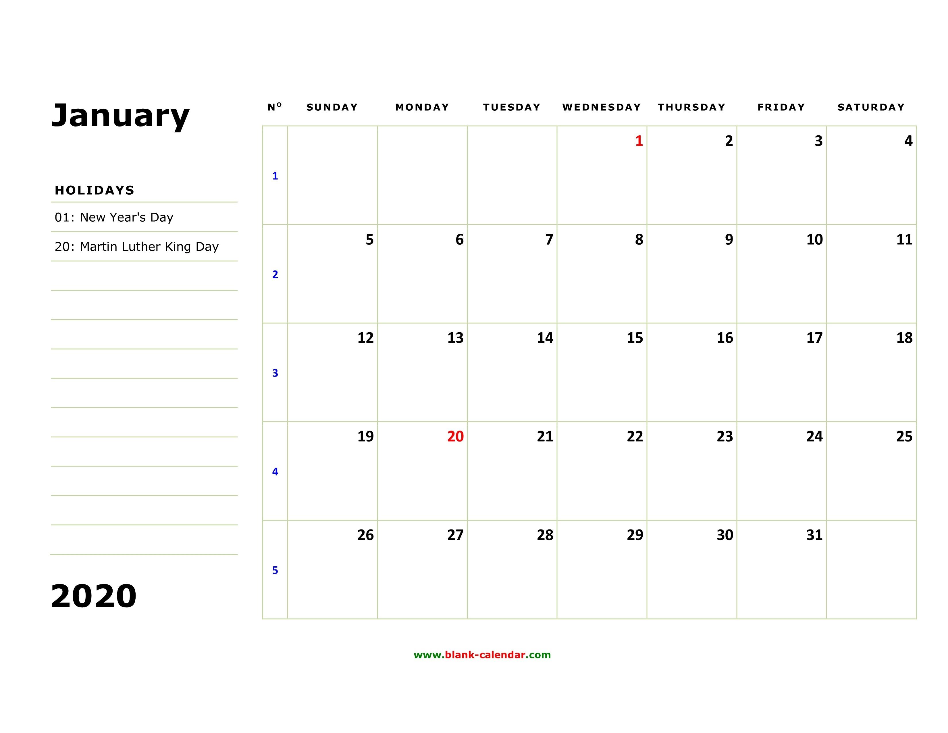 Free Download Printable January 2020 Calendar, Large Box-Large January 2020 Calendar