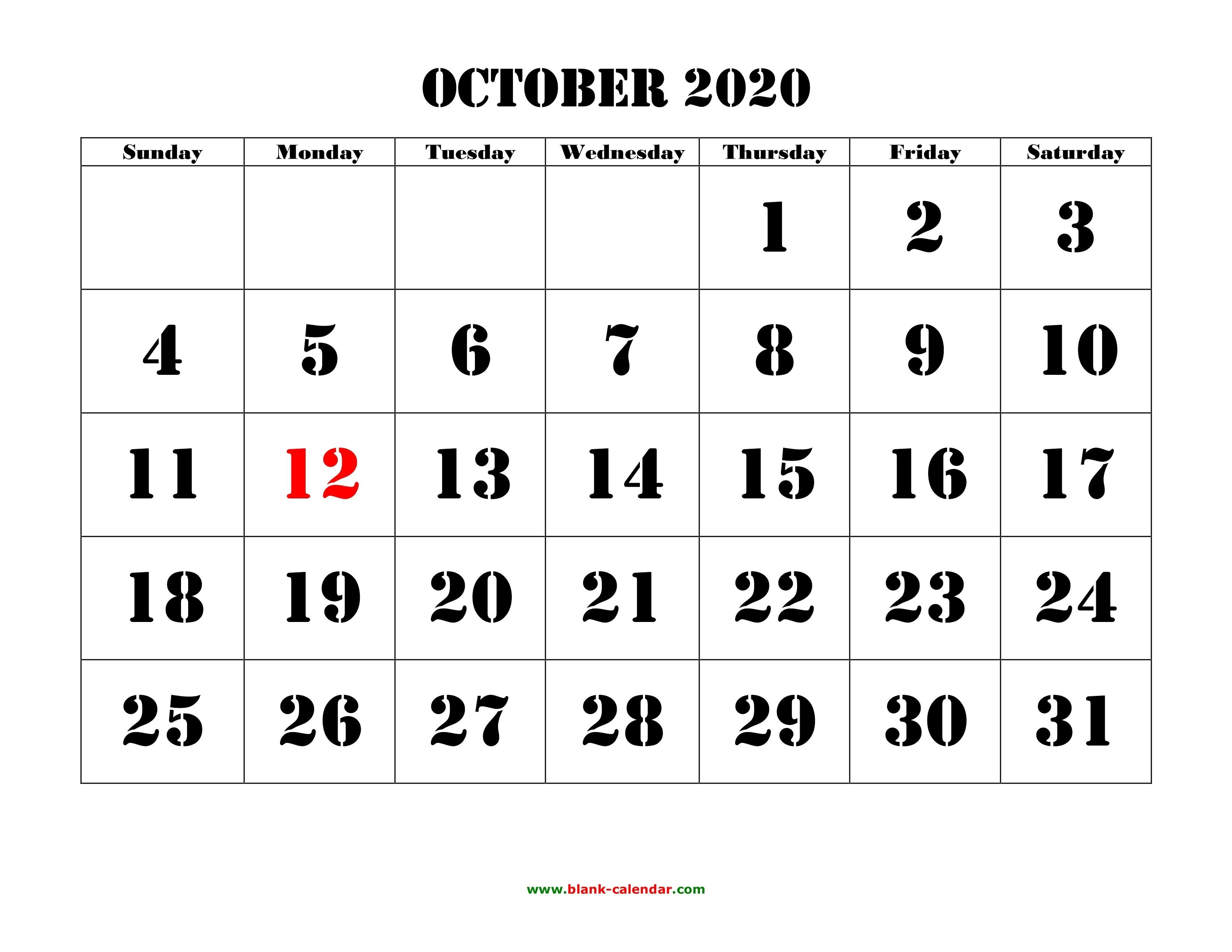 Free Download Printable October 2020 Calendar, Large Font-Blank Calendar October 2020 Printable