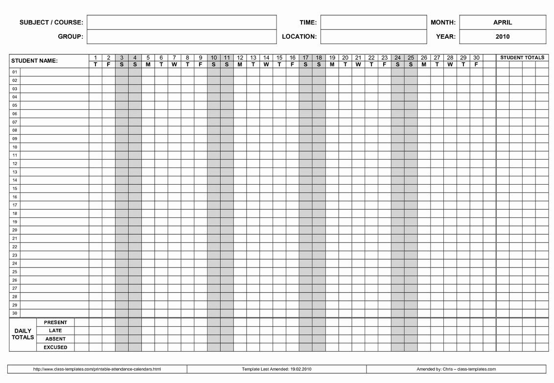 Free Employee Attendance Calendar Employee Tracker Templates-Attendance Calendars For Employee Template
