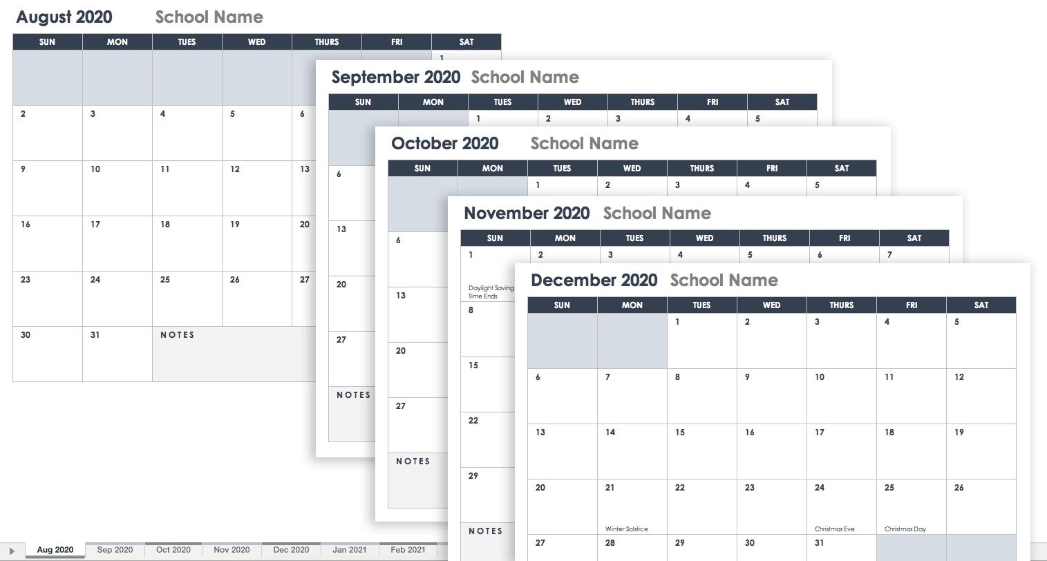 Free Excel Calendar Templates-2020 Monthly Calendar Smartsheet