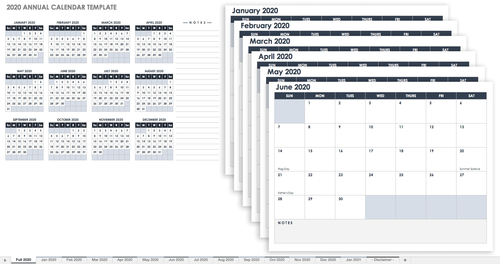 Free Excel Calendar Templates-At A Glance Academic Planner 2020 Template