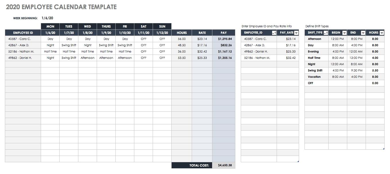 Free Excel Calendar Templates-Shift Schedule Calendar Template 2020