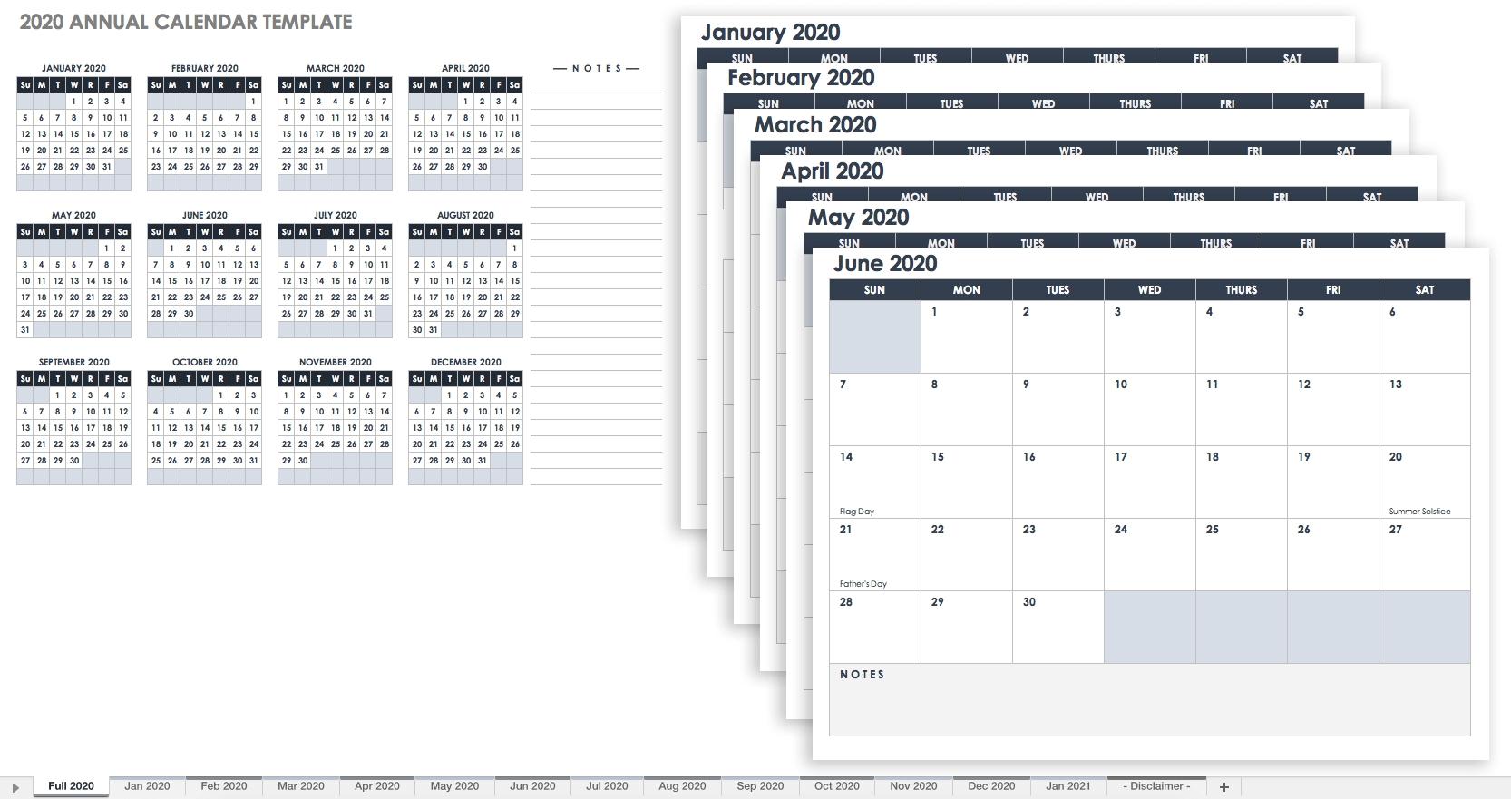 Free Excel Calendar Templates-Template Monthly Calendar 2020.xls