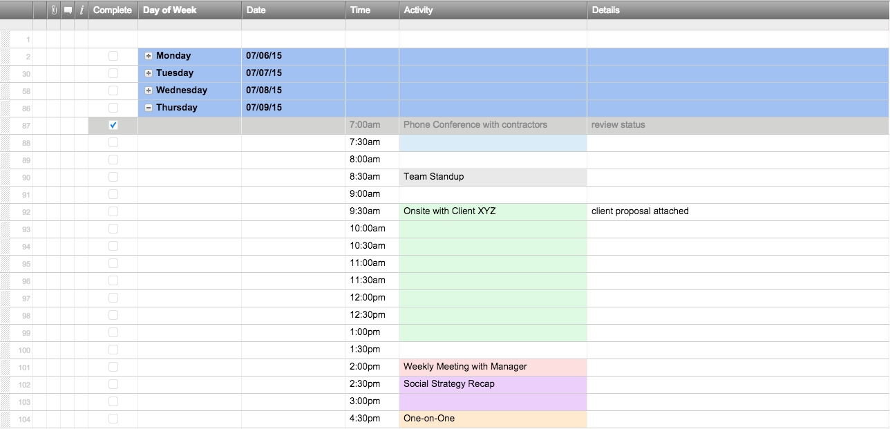Free Excel Schedule Templates For Schedule Makers-4 Day Work Week Template
