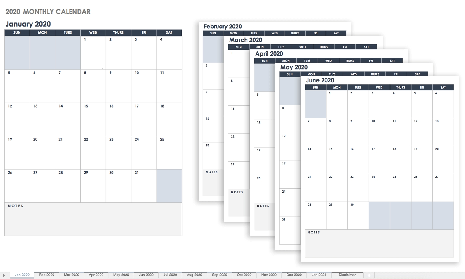Free Google Calendar Templates | Smartsheet-Monthly Calendar List Template