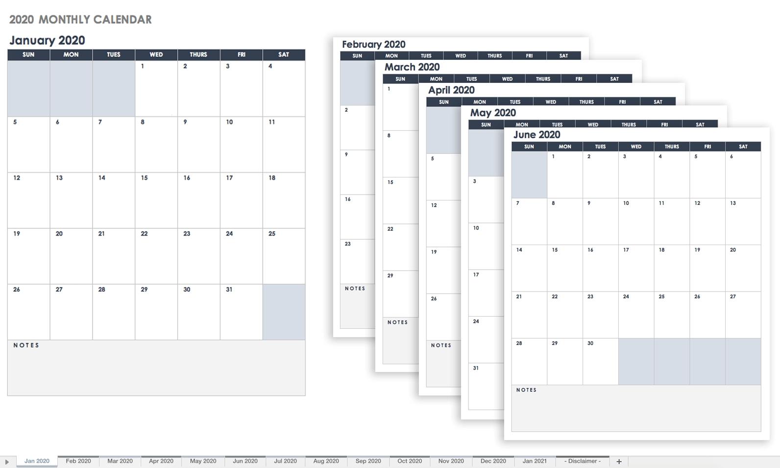 Free Google Calendar Templates | Smartsheet-Template Monthly Calendar 2020.xls