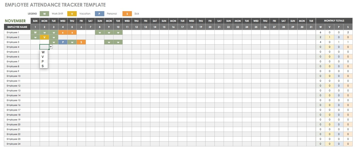 Free Human Resources Templates In Excel | Smartsheet-Free Employee Attendance Template