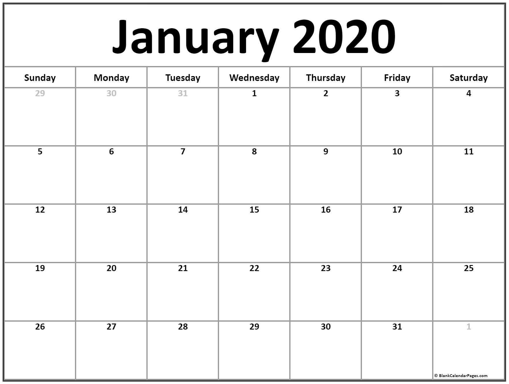 Free January 2020 Printable Calendar - Create Your Editable-January 2020 Calendar Jpg