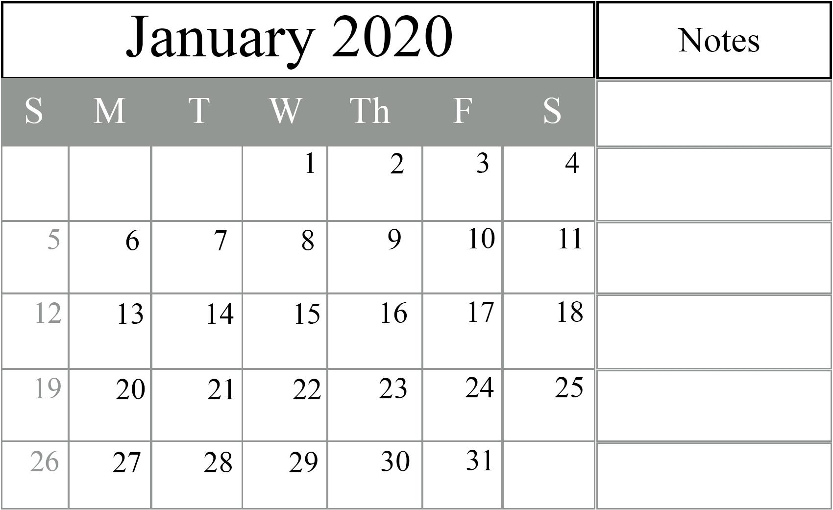 Free January 2020 Printable Calendar In Pdf, Excel & Word-January 2020 Fillable Calendar