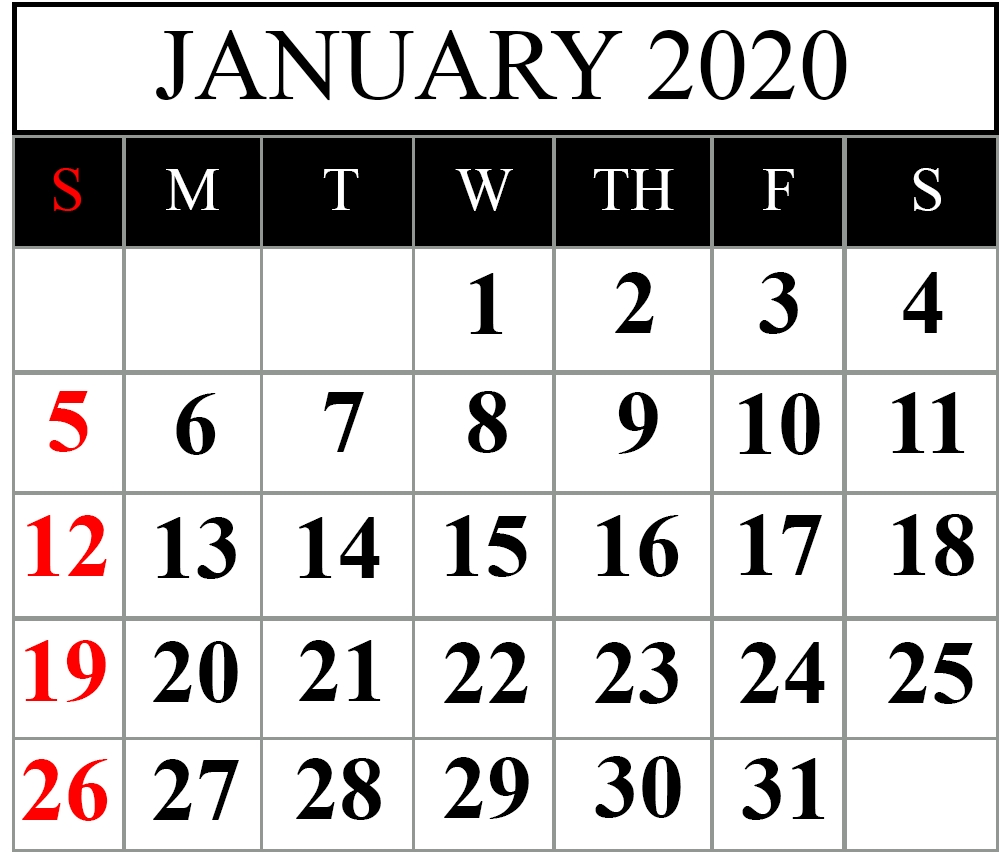 Free January 2020 Printable Calendar Template In Pdf, Word-January 2020 Calendar Portrait