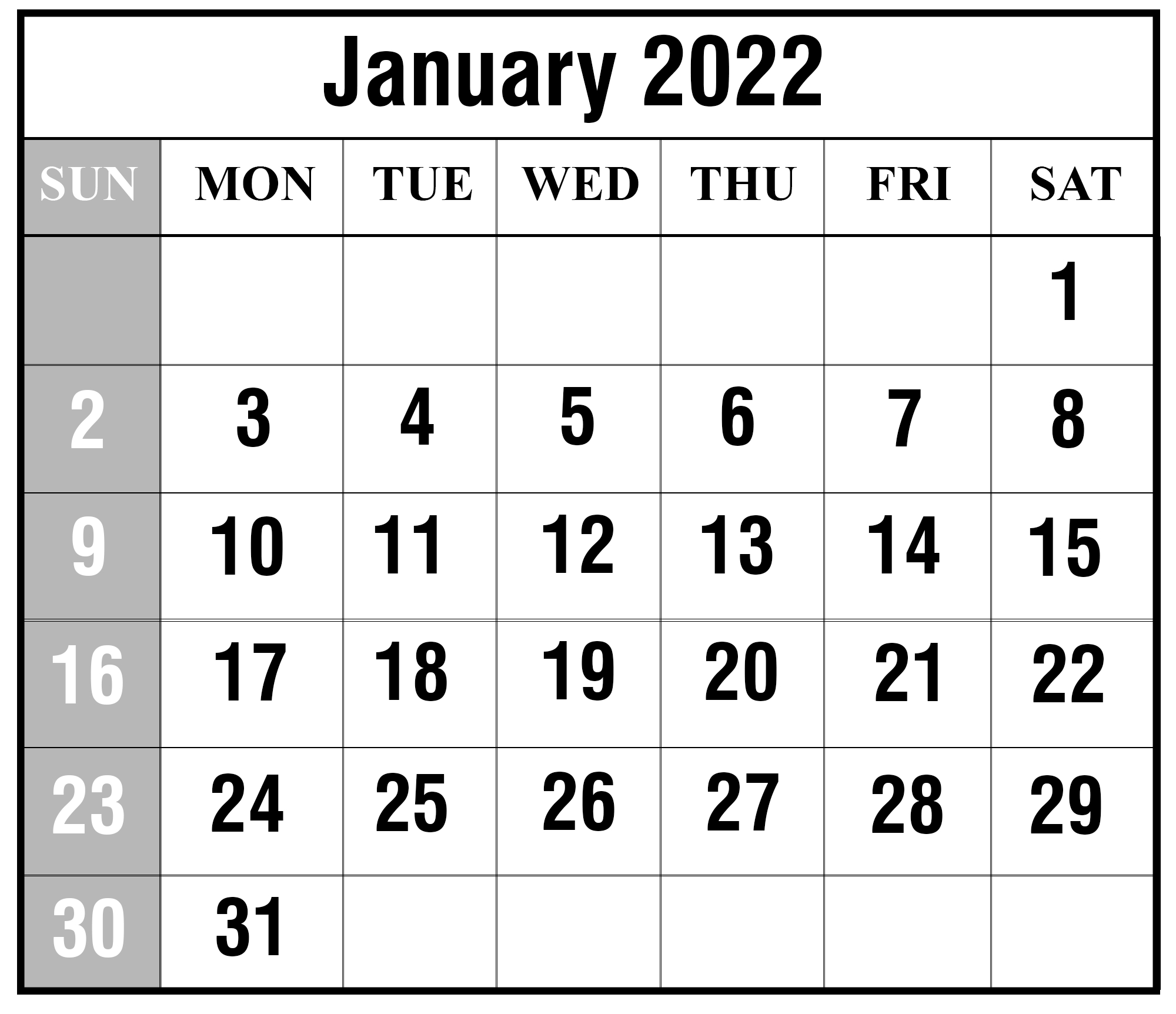 Free January 2022 Printable Calendar Template In Pdf, Excel-2022 Calendar Printable With Holidays Malaysia