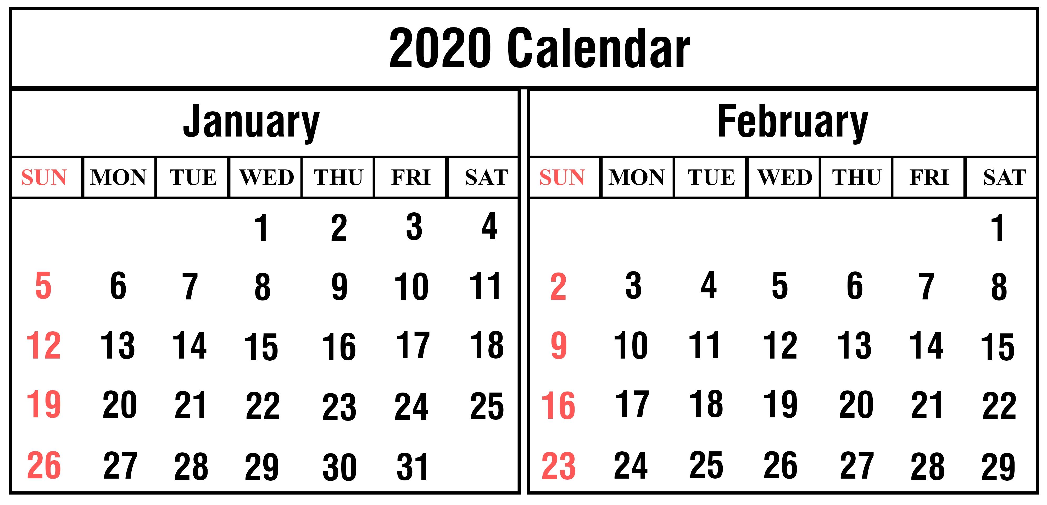 Free January And February 2020 Calendar Templates-January And February 2020 Calendar