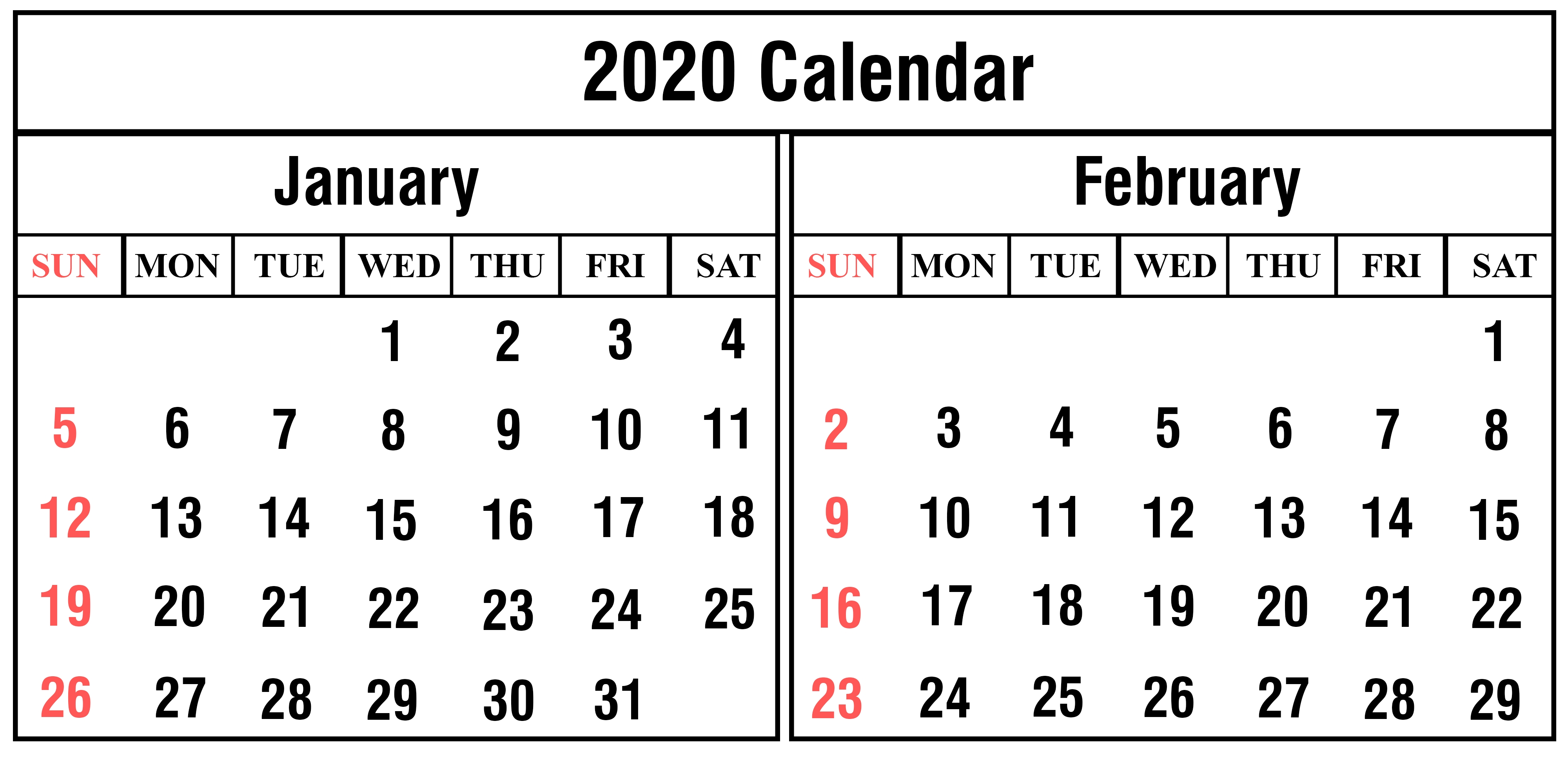Free January And February 2020 Calendar Templates-January February 2020 Calendar
