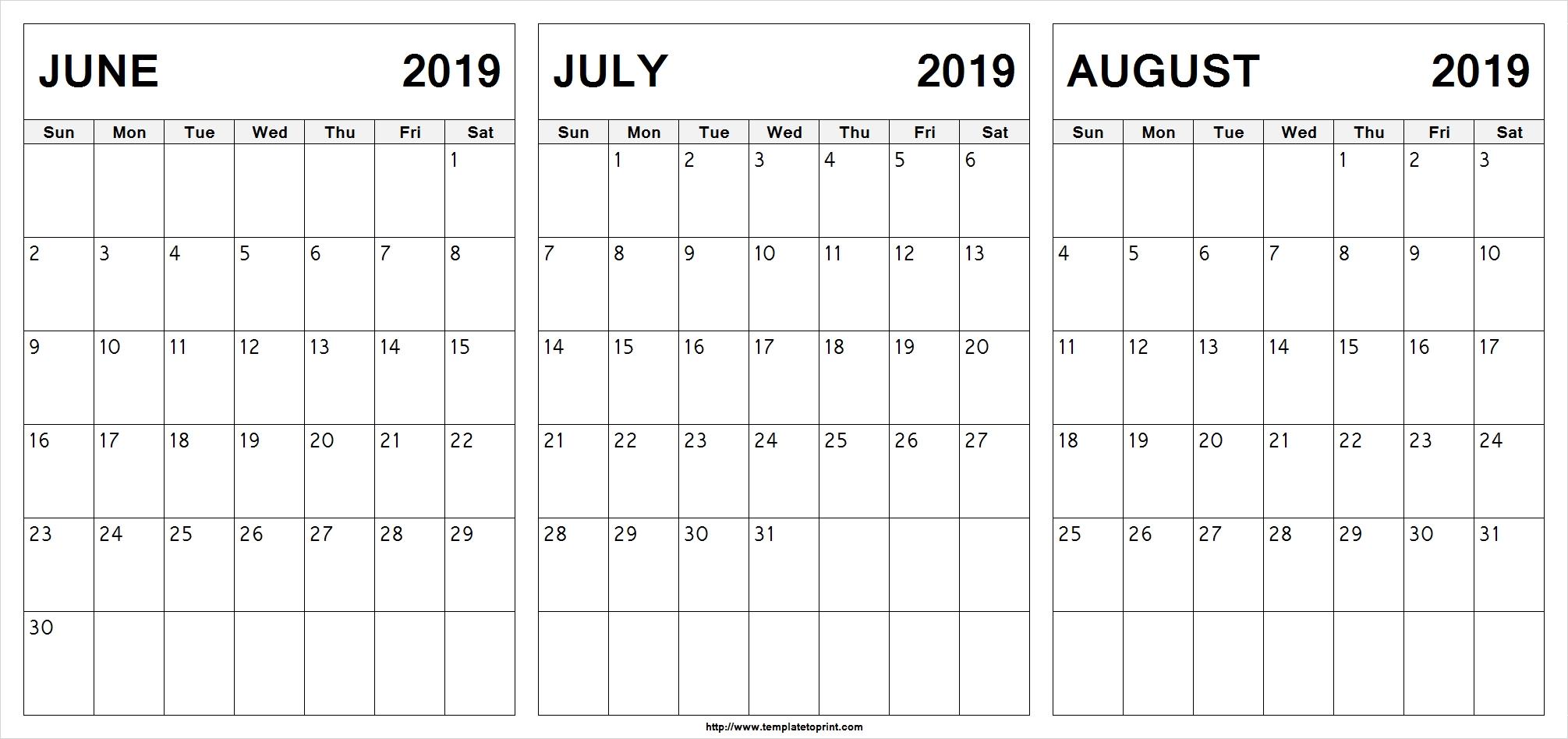 Free June July August 2019 Calendar (3 Months) Printable-June July & August Blank Calendar